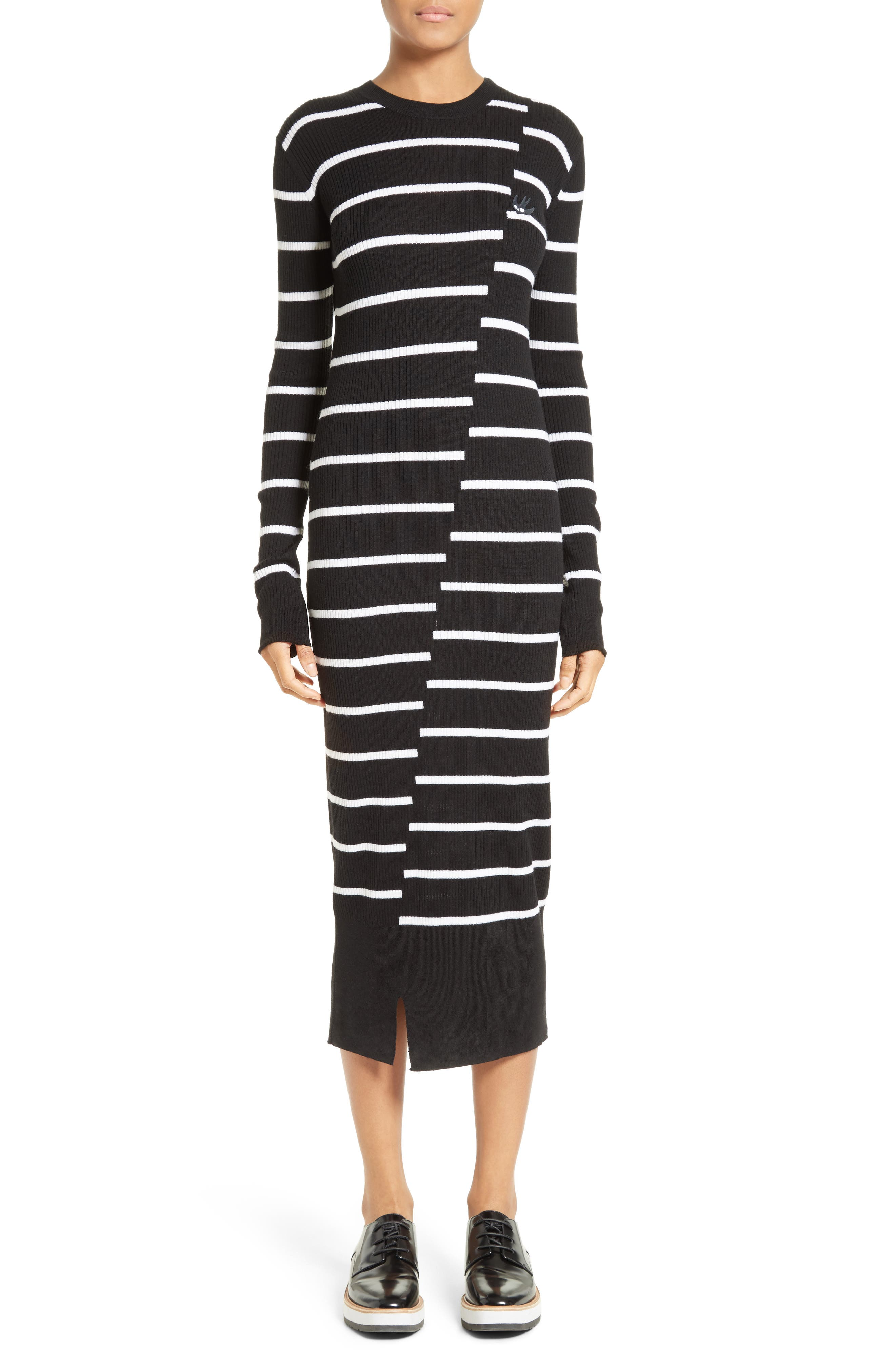 Distort Stripe Wool Sweater Dress,                         Main,                         color, Black/ White