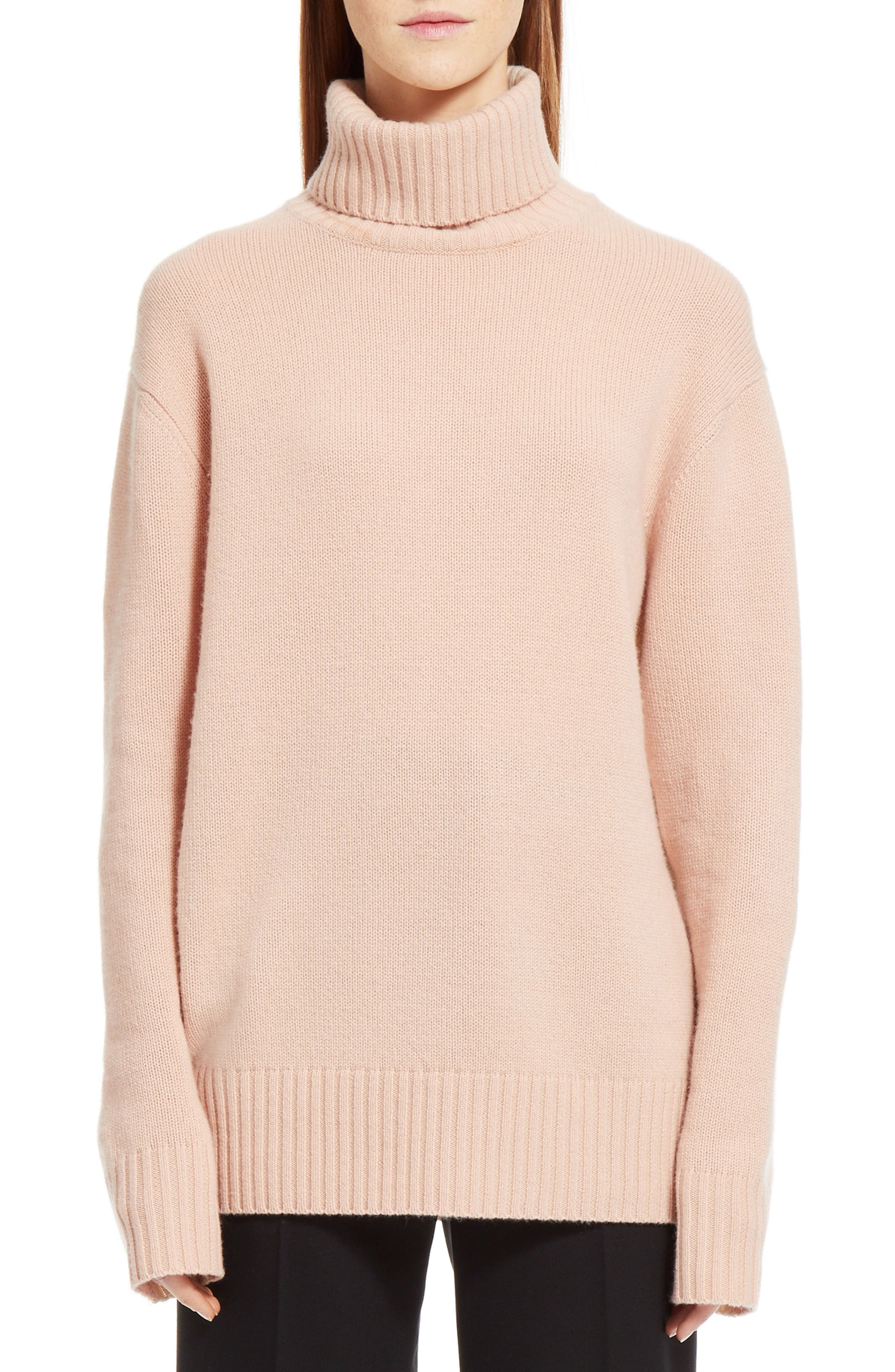 Colorblock Cashmere Turtleneck Sweater,                             Main thumbnail 1, color,                             Pink/ Beige
