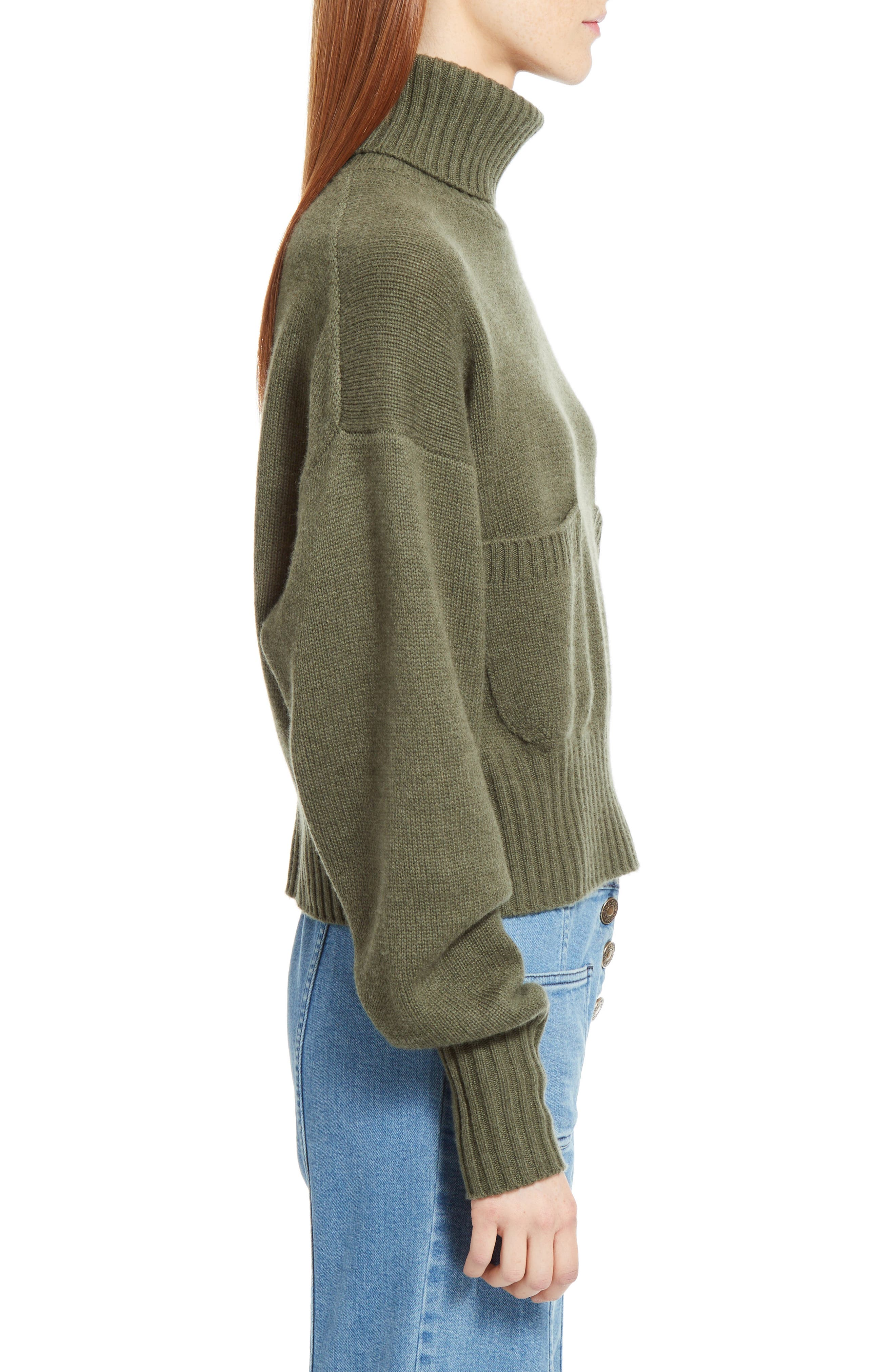 Iconic Cashmere Turtlenck Sweater,                             Alternate thumbnail 4, color,                             Night Forest