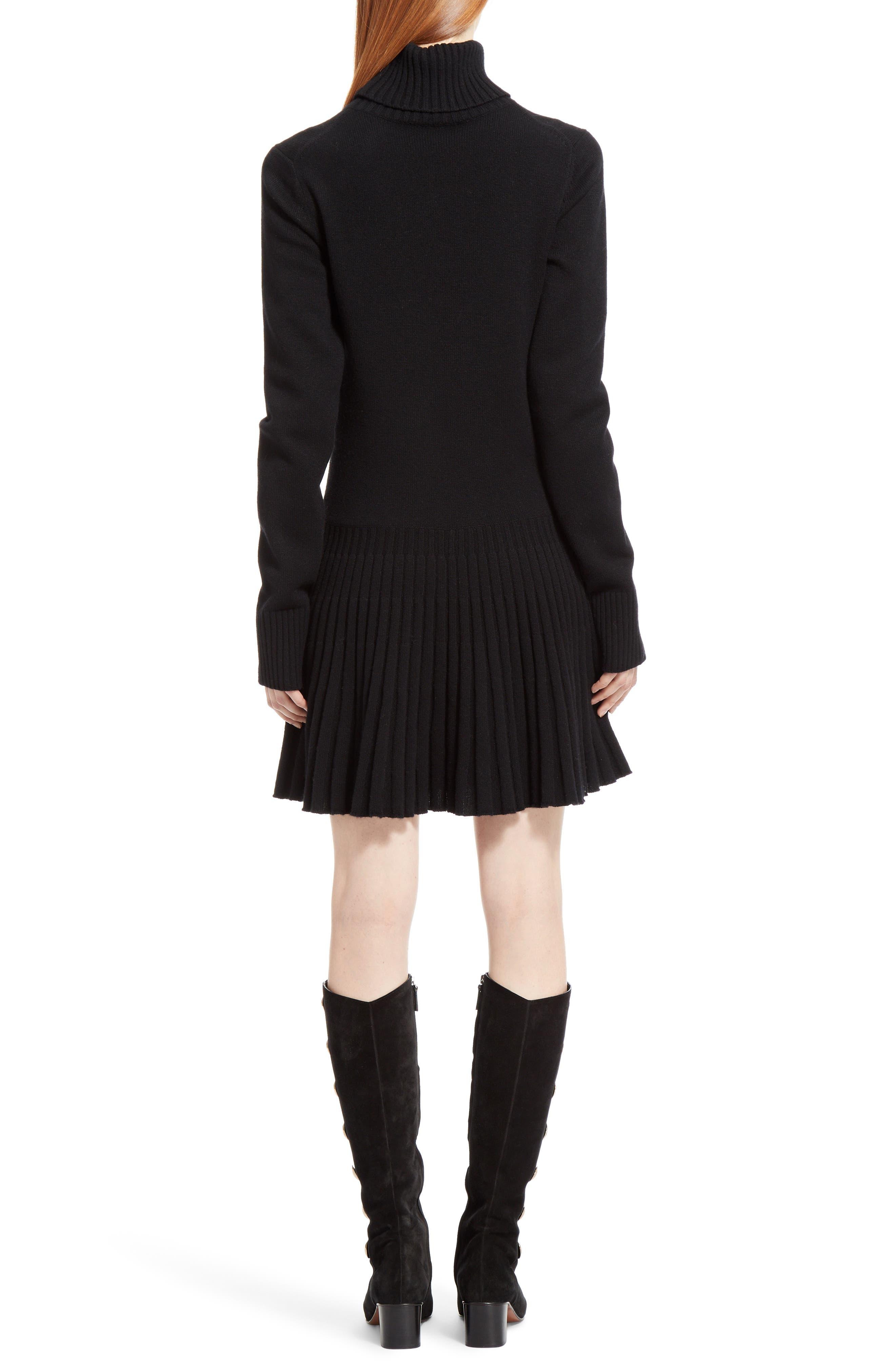 Alternate Image 2  - Chloé Cashmere Pleated Turtleneck Dress