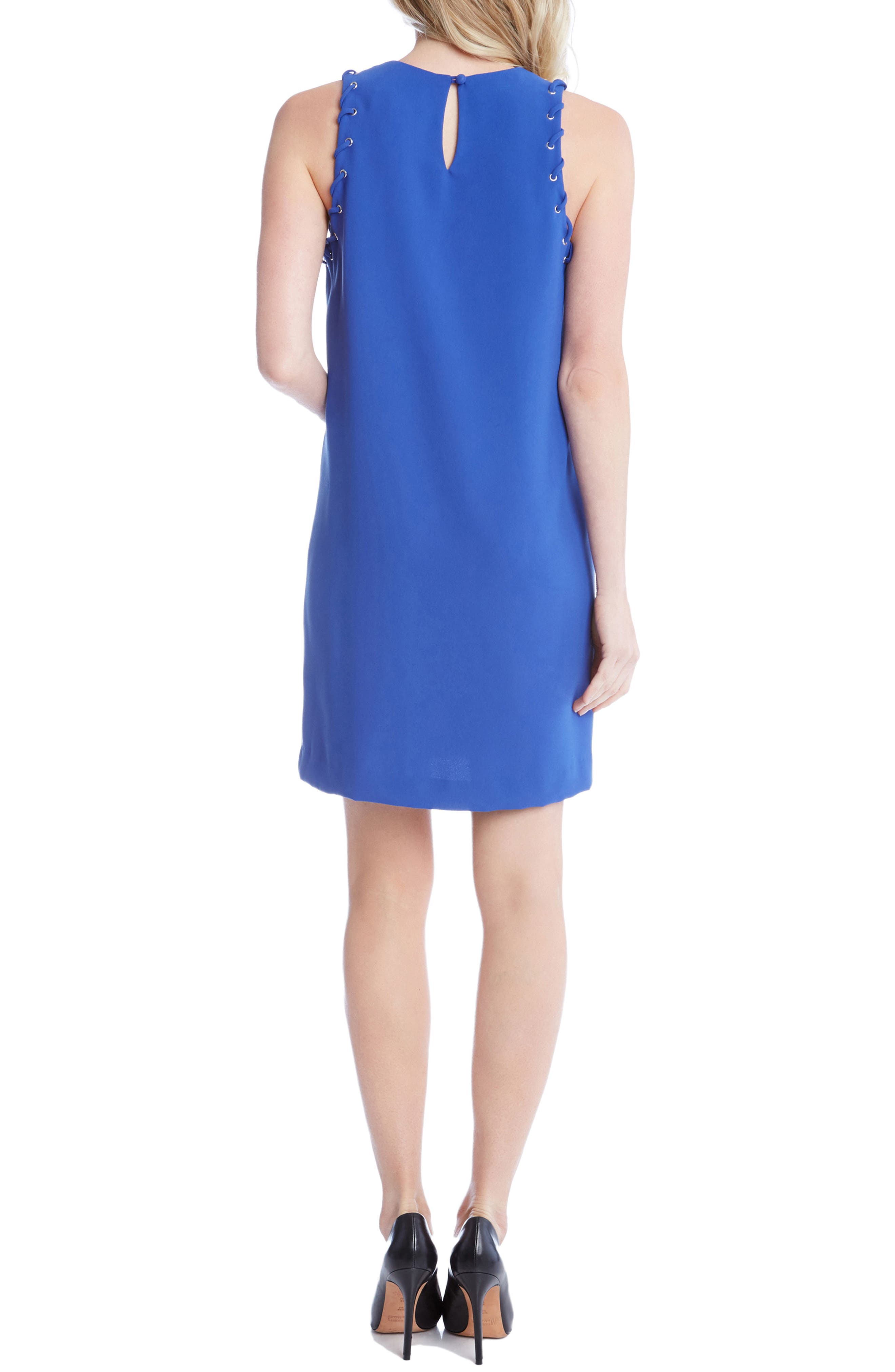 Grommet Detail Crepe Shift Dress,                             Alternate thumbnail 2, color,                             Iris