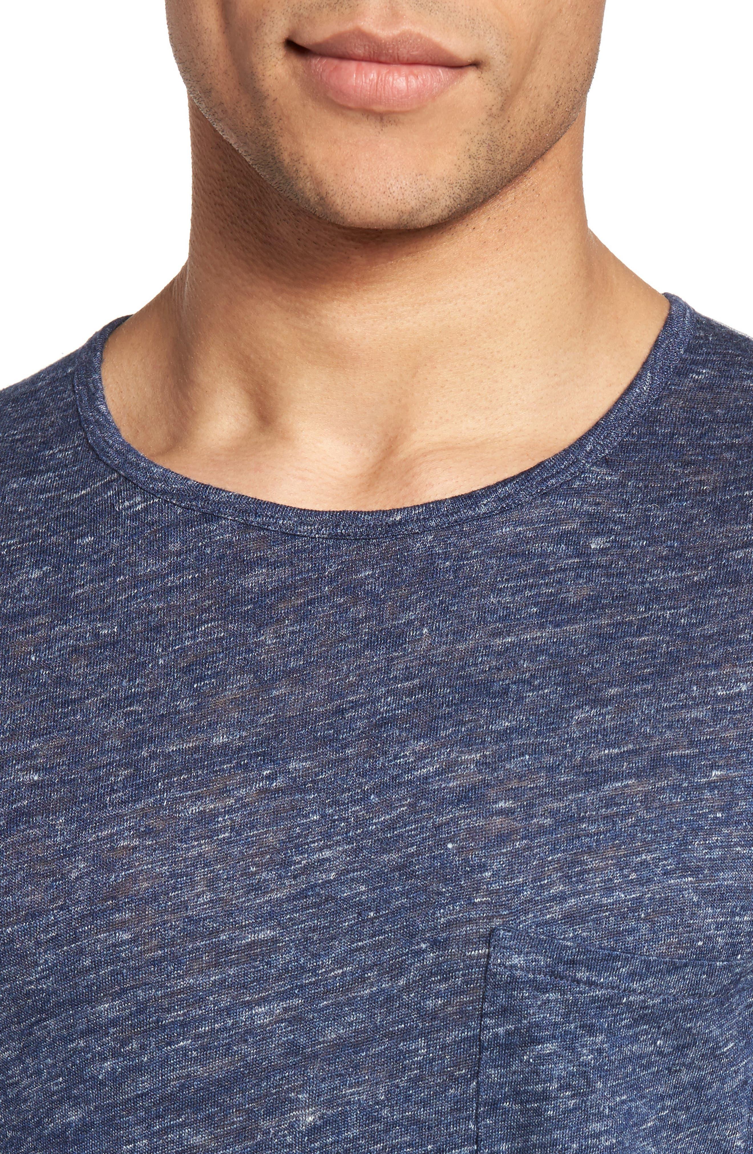 Monad Colorblock Linen T-Shirt,                             Alternate thumbnail 5, color,                             Blue Mountain