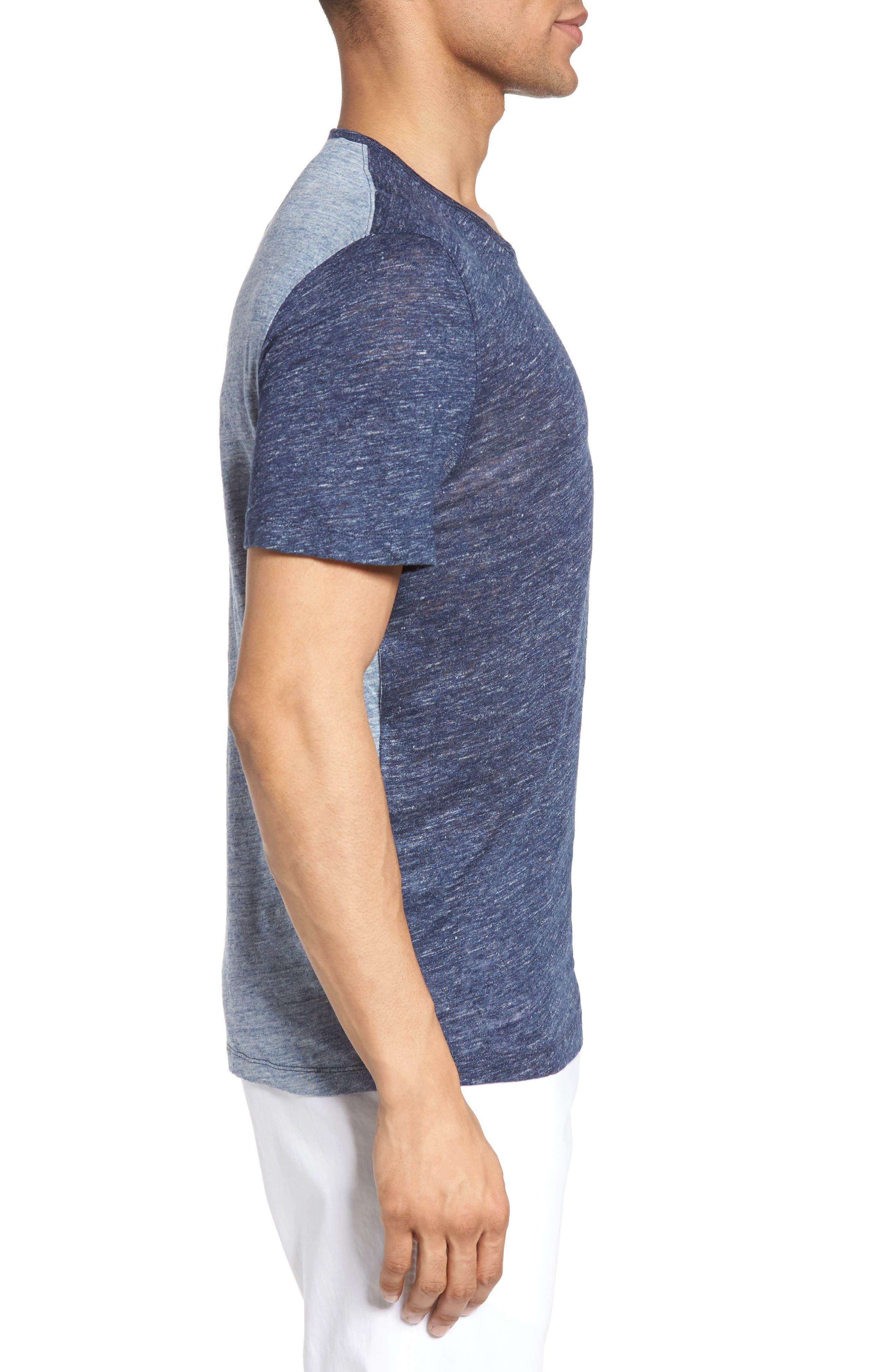 Monad Colorblock Linen T-Shirt,                             Alternate thumbnail 4, color,                             Blue Mountain