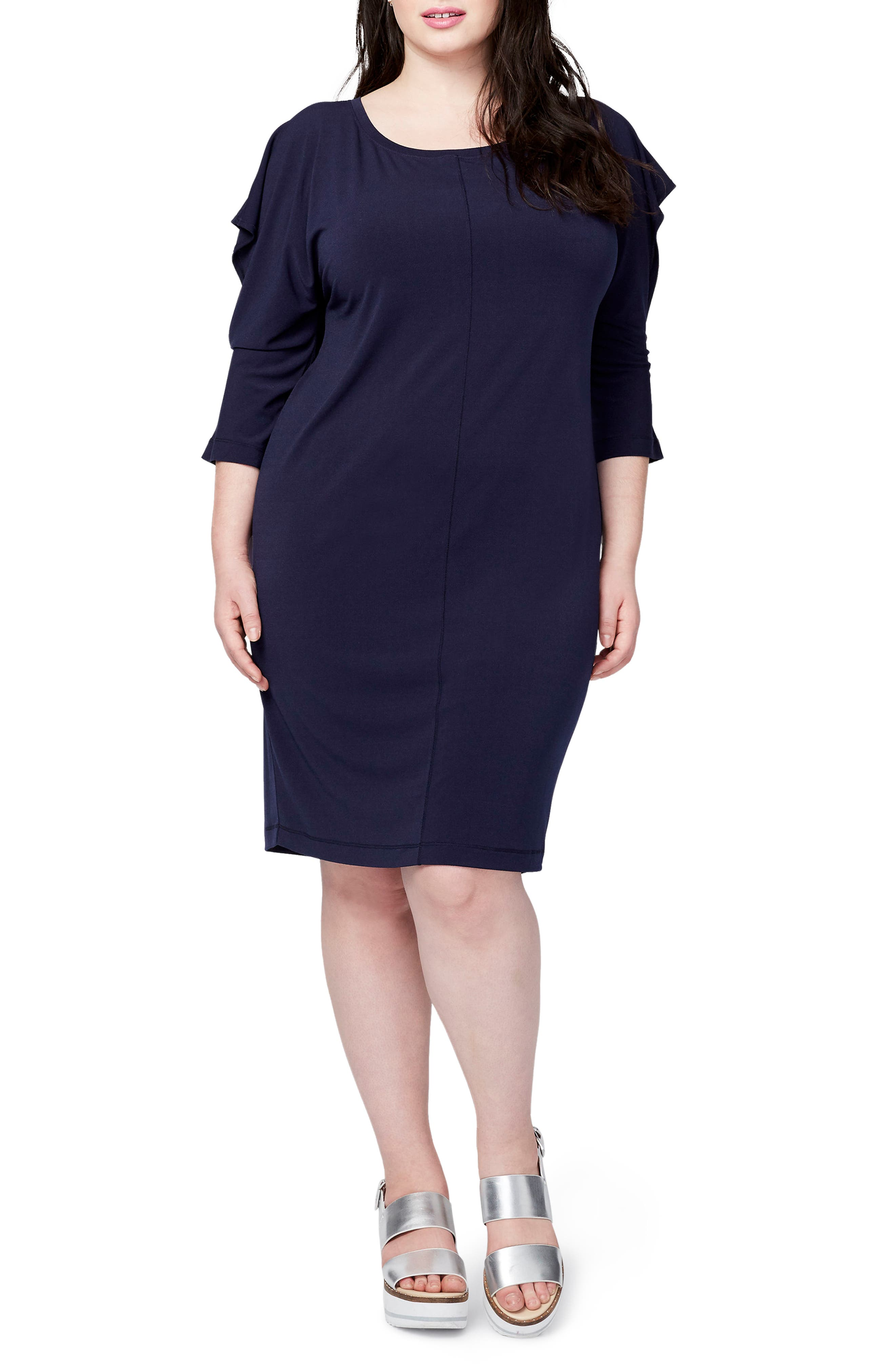 Ruffled Open Sleeve Dress,                         Main,                         color, Navy