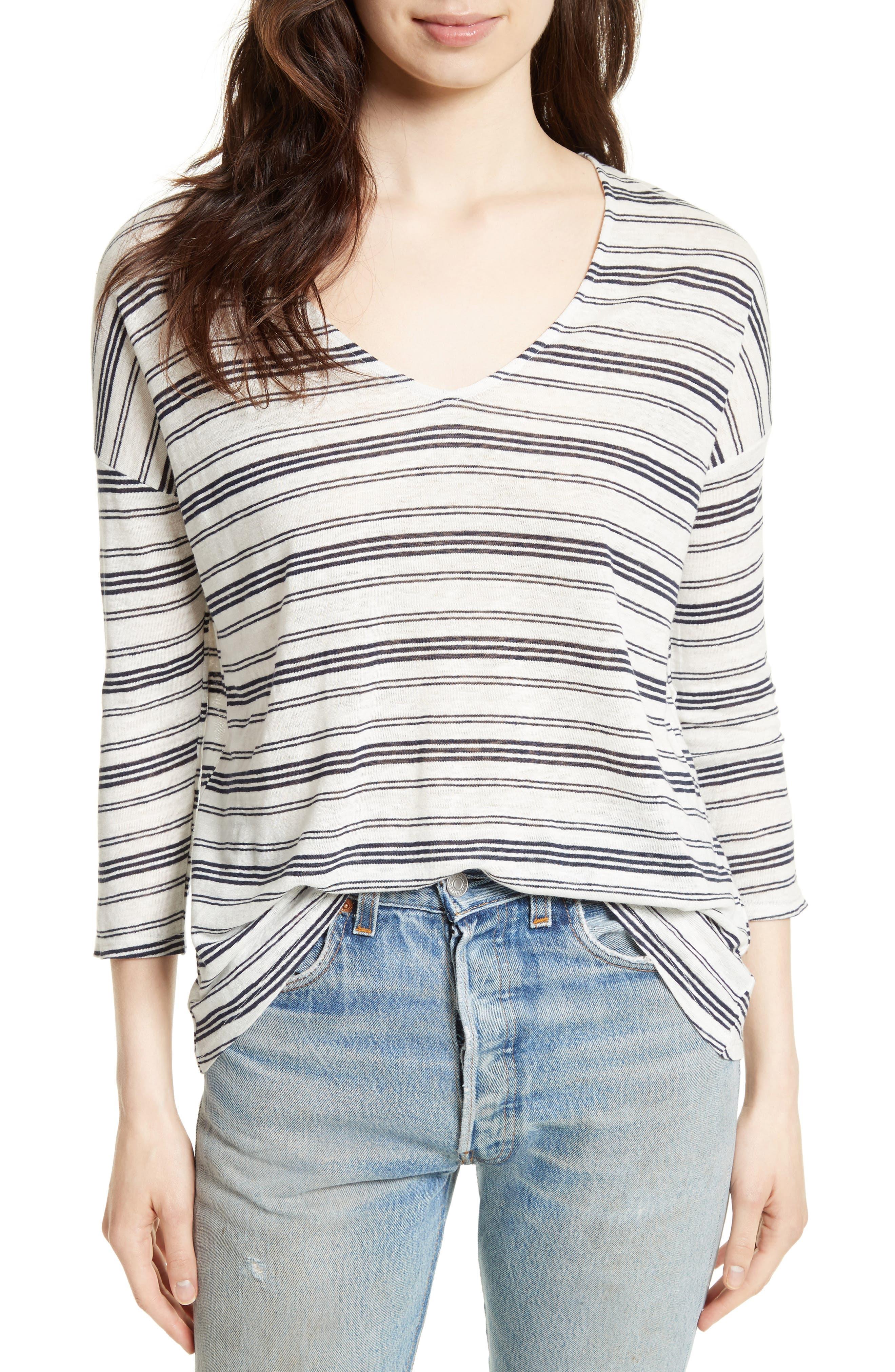 JOIE Orsola Stripe Linen Knit Top