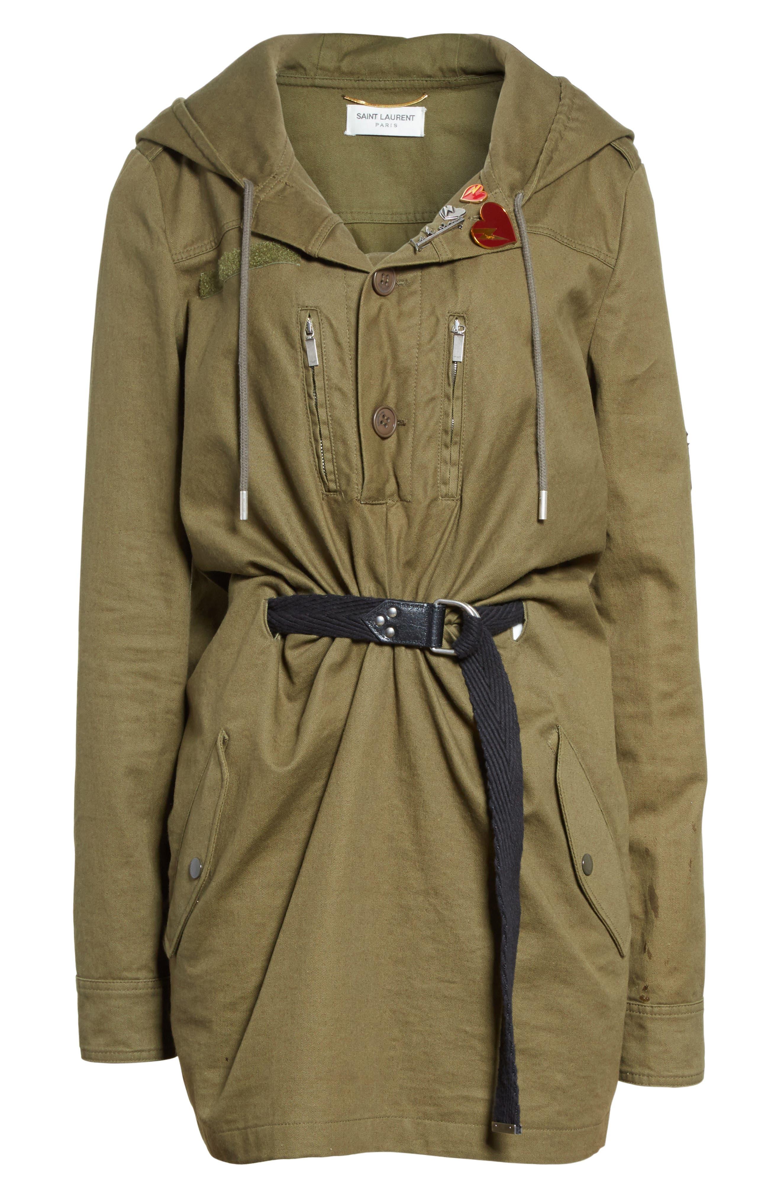 Alternate Image 4  - Saint Laurent Patch Embellished Cotton Blend Gabardine Dress