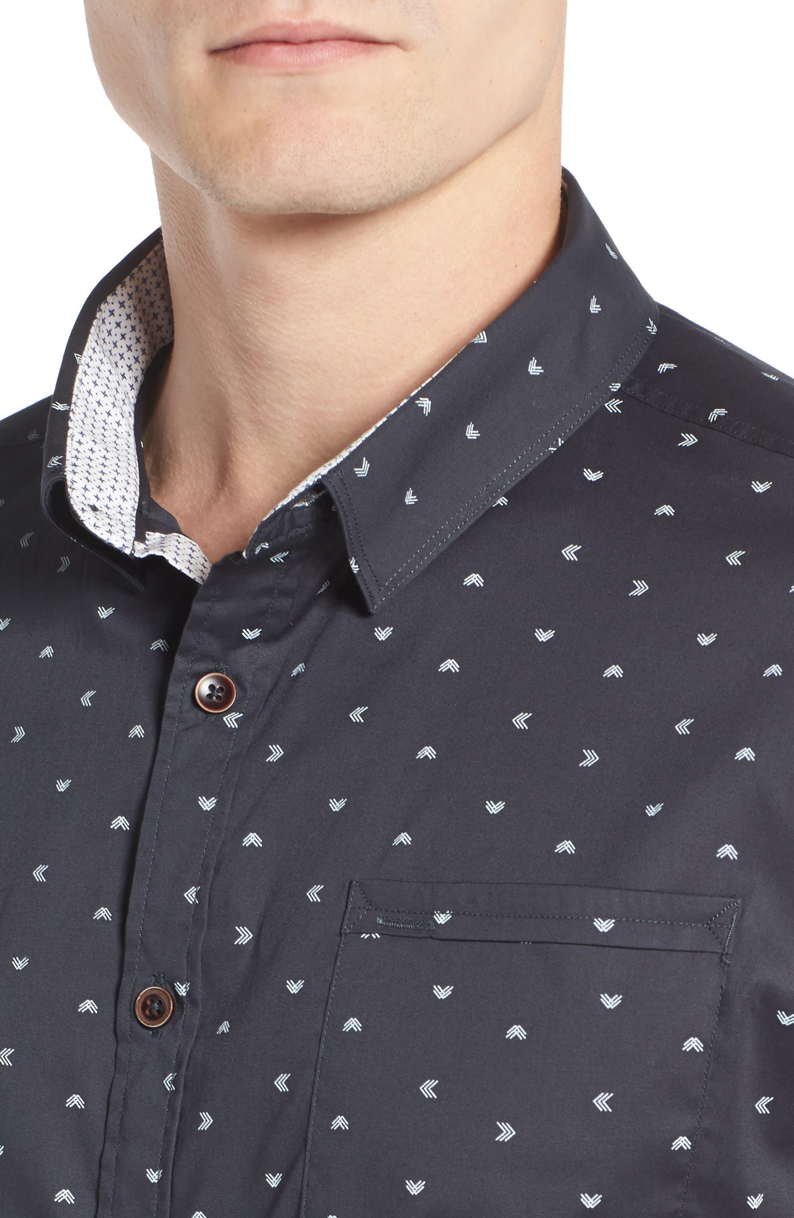 Rising Water Print Woven Shirt,                             Alternate thumbnail 4, color,                             Charcoal