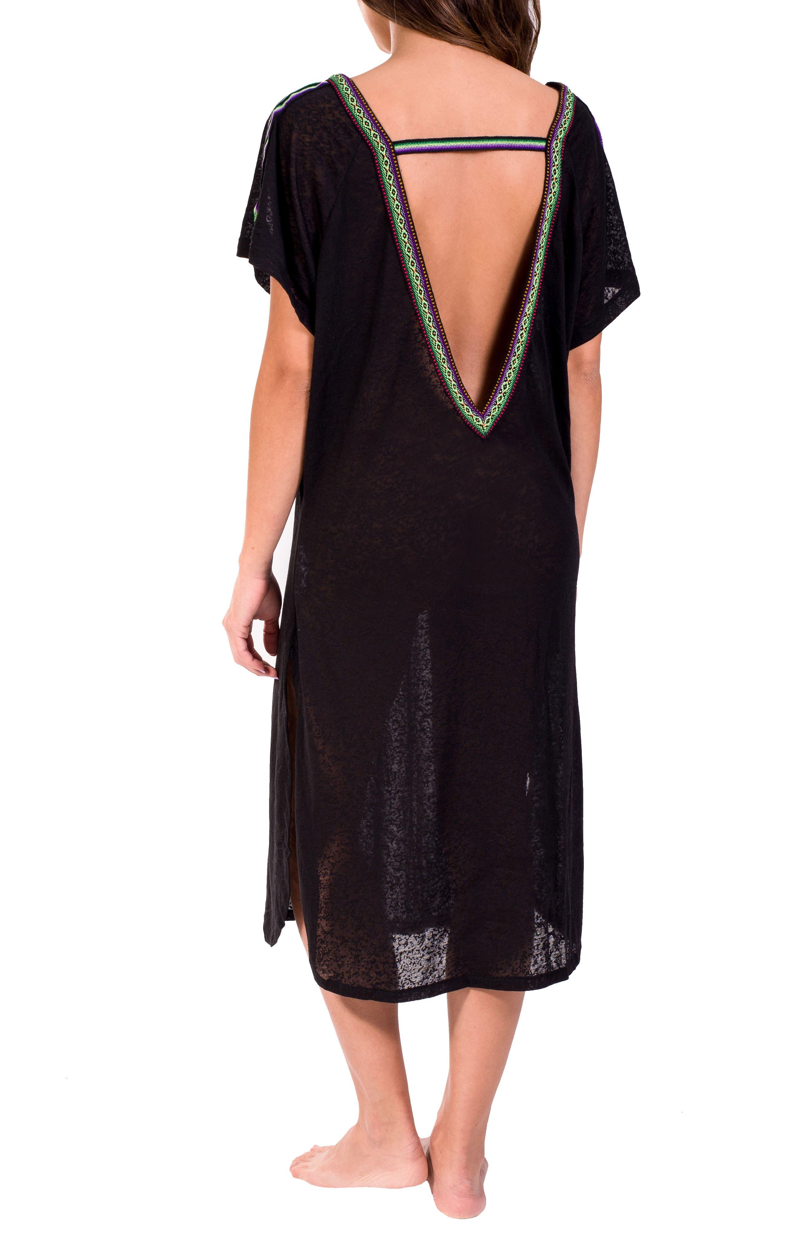 Cover-Up Midi Dress,                             Alternate thumbnail 2, color,                             Black