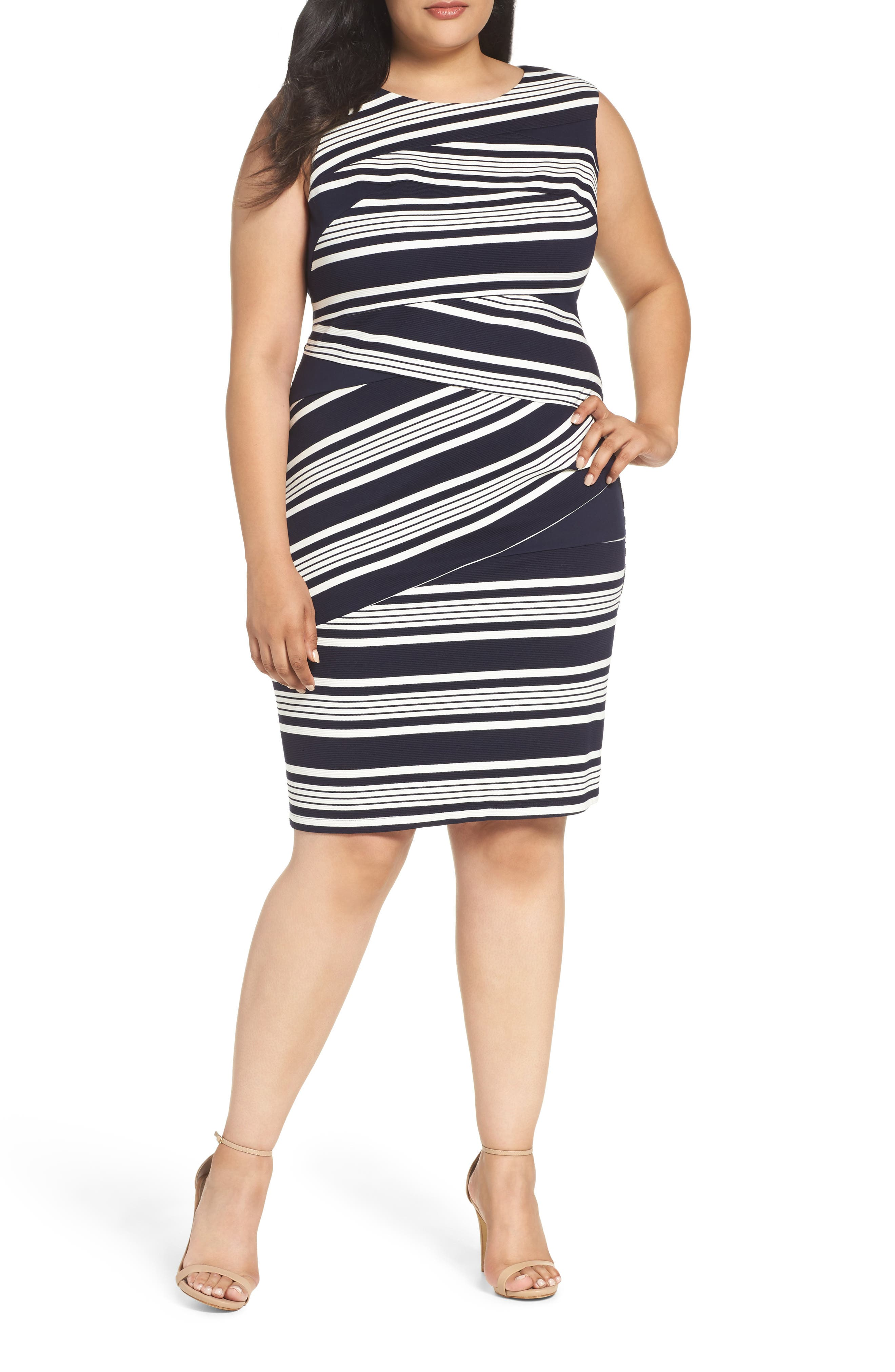 Alternate Image 1 Selected - Adrianna Papell Stripe Body-Con Dress (Plus Size)