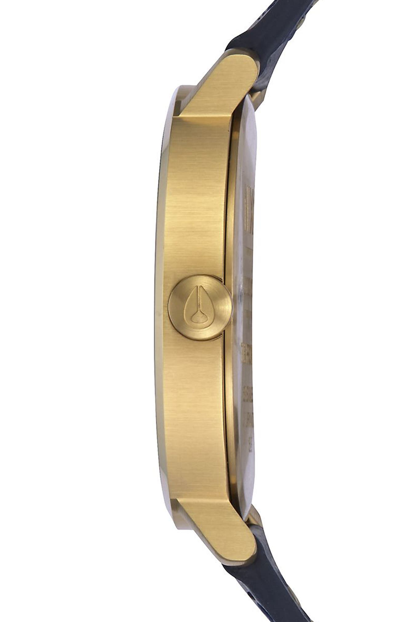 The Arrow Leather Strap Watch, 38mm,                             Alternate thumbnail 3, color,                             Navy/ White/ Gold