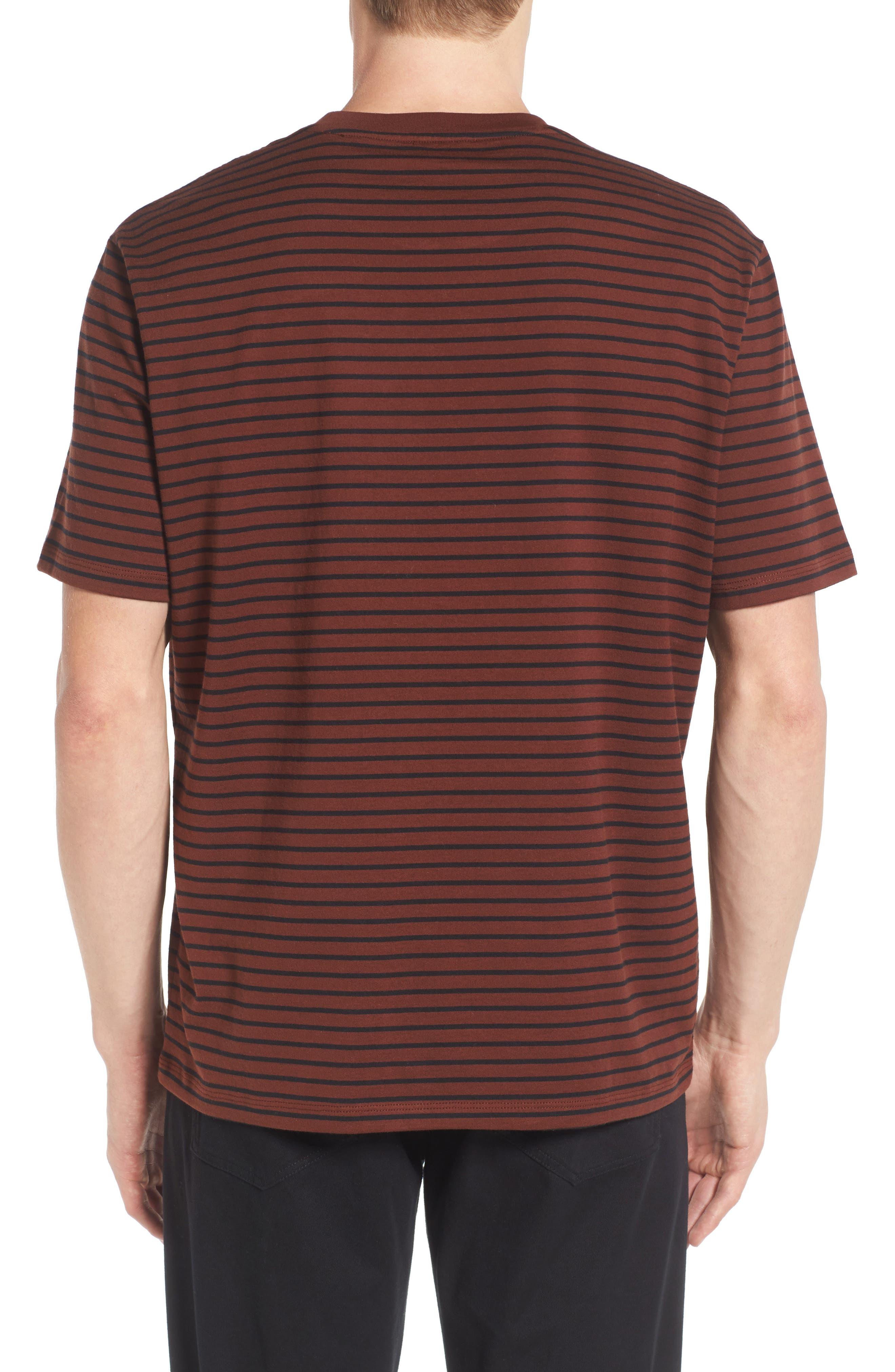 Narrow Stripe Pima Cotton T-Shirt,                             Alternate thumbnail 2, color,                             Sienna/ Black