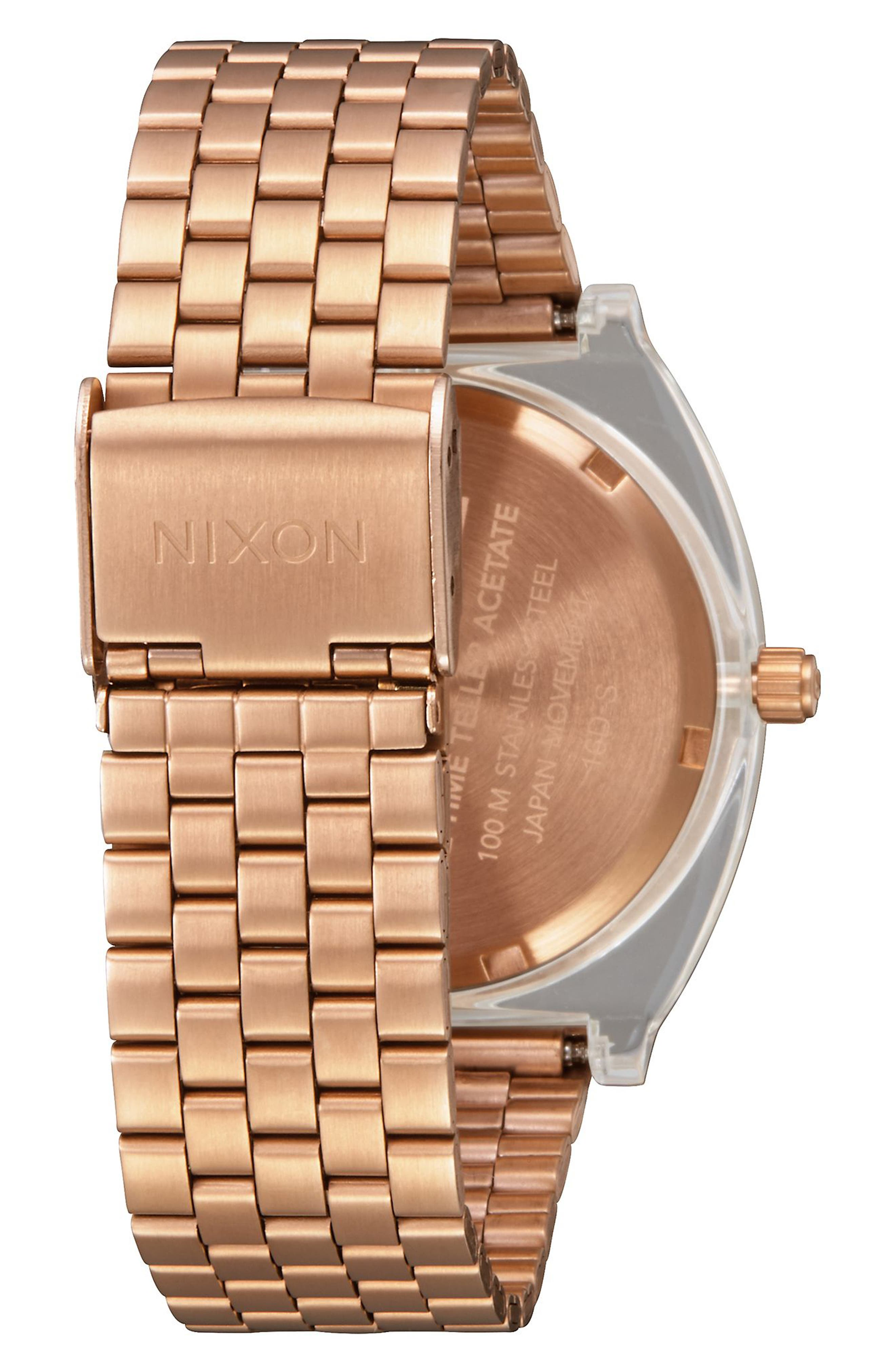 Time Teller Acetate Bracelet Watch, 40mm,                             Alternate thumbnail 2, color,                             Rose Gold / Clear
