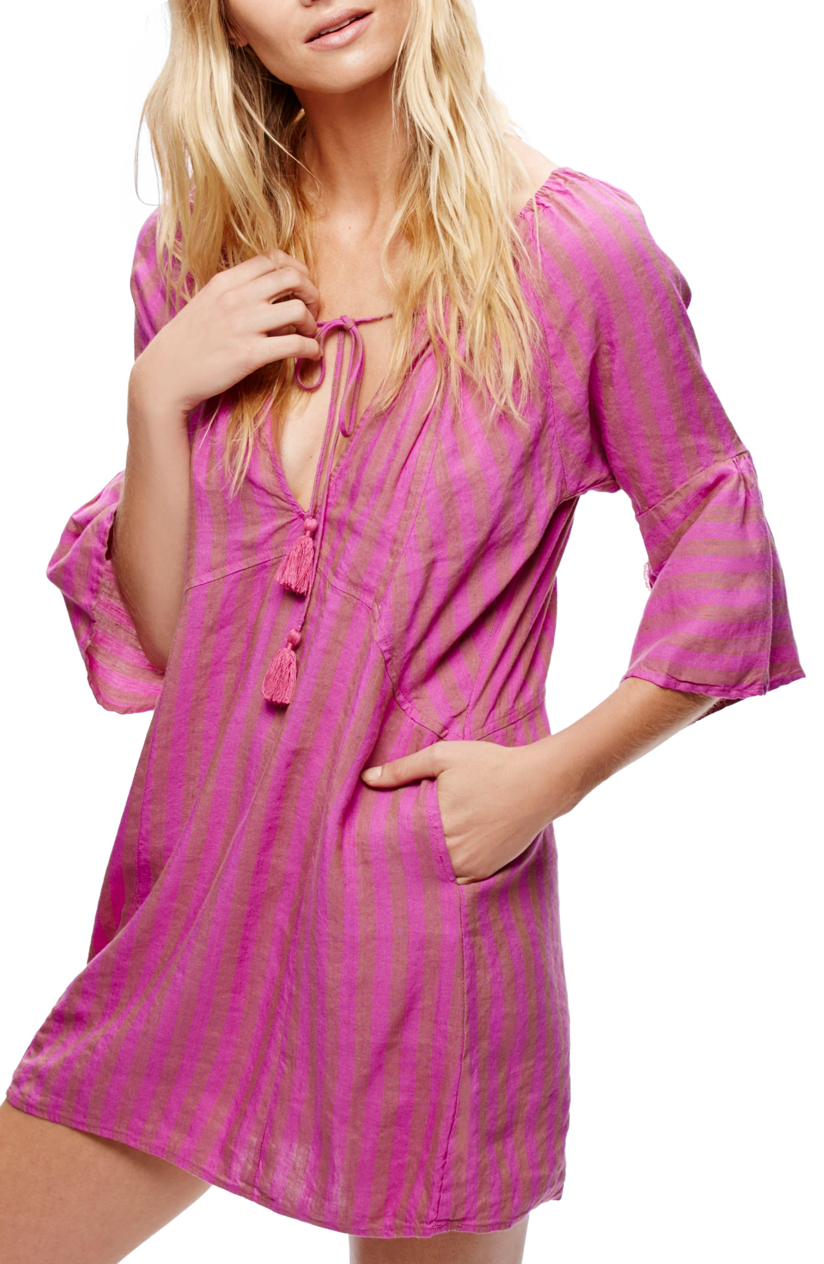 Folk Town Minidress,                             Main thumbnail 1, color,                             Purple Combo