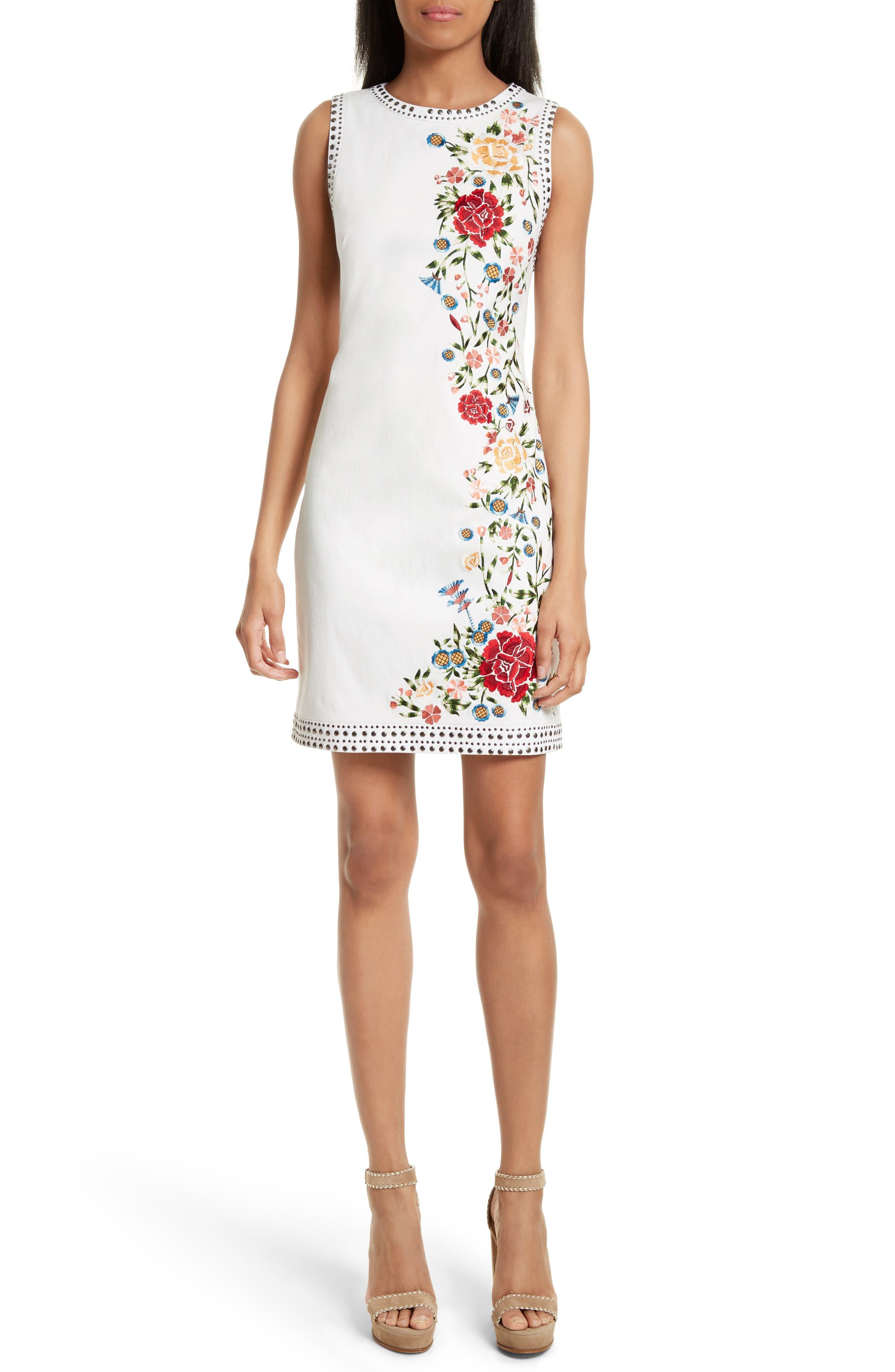 Nat Embroidered Minidress,                         Main,                         color, Cream Multi
