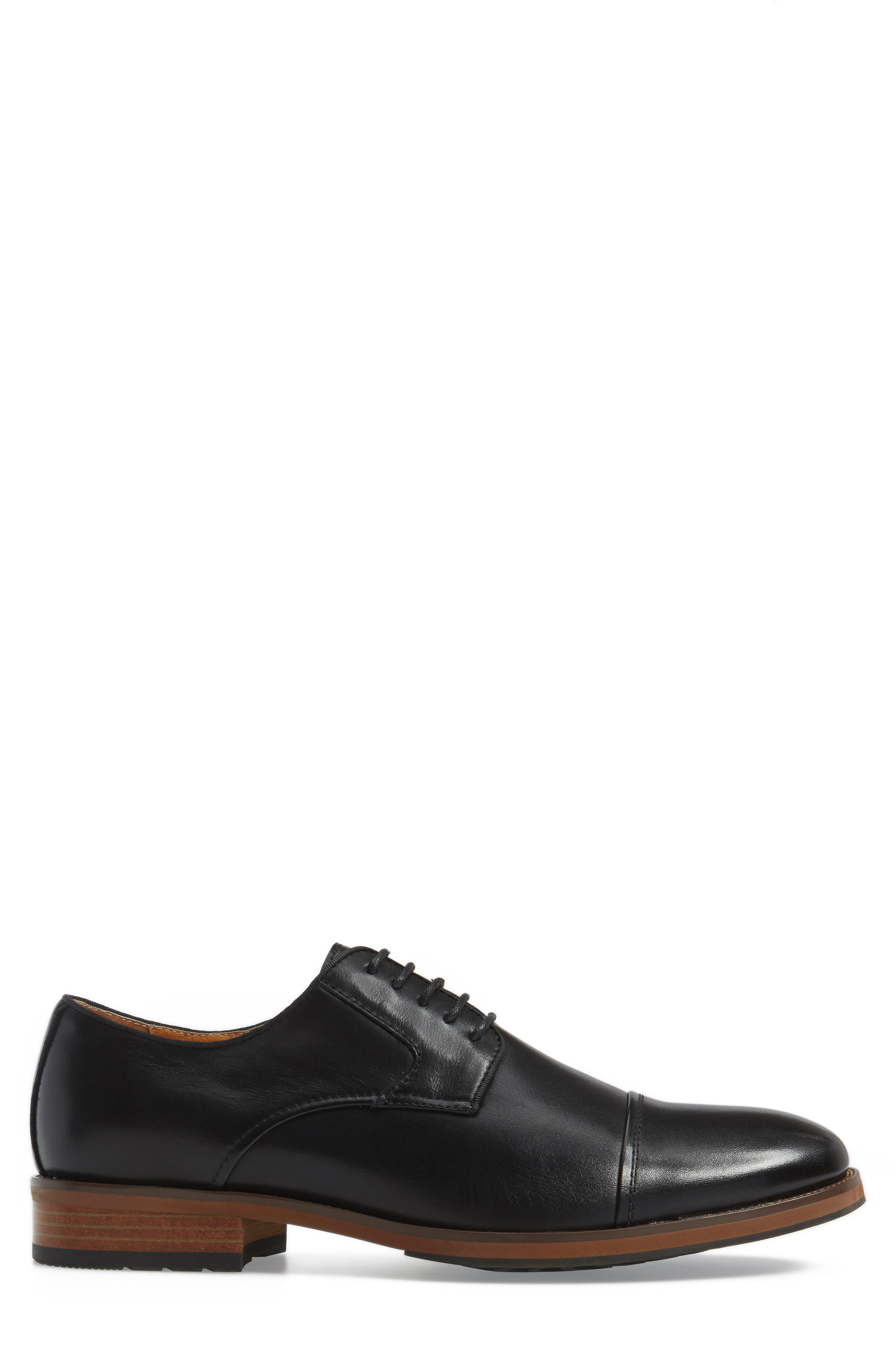 Blaze Cap Toe Derby,                             Alternate thumbnail 3, color,                             Black Leather