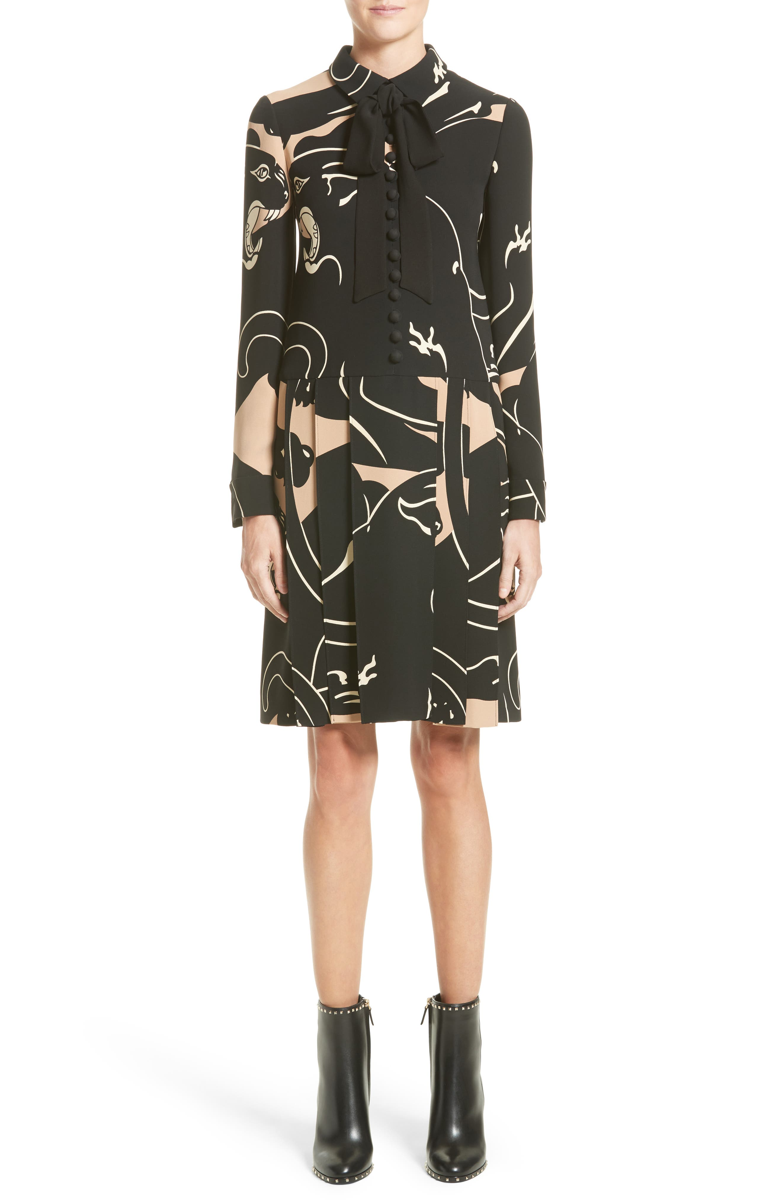 Main Image - Valentino Panther Print Tie Neck Silk Cady Dress
