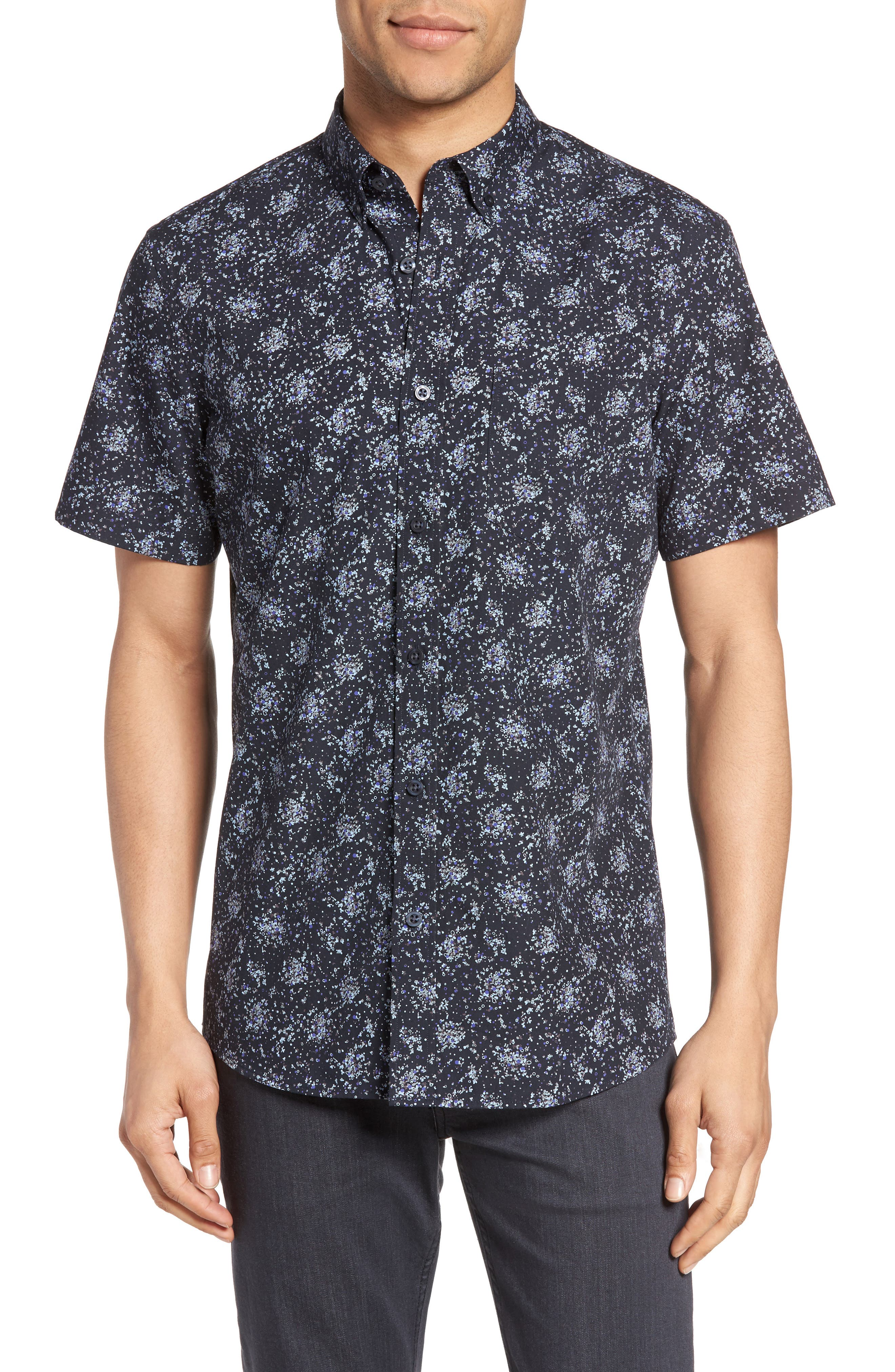 NORDSTROM MENS SHOP Slim Fit Print Sport Shirt