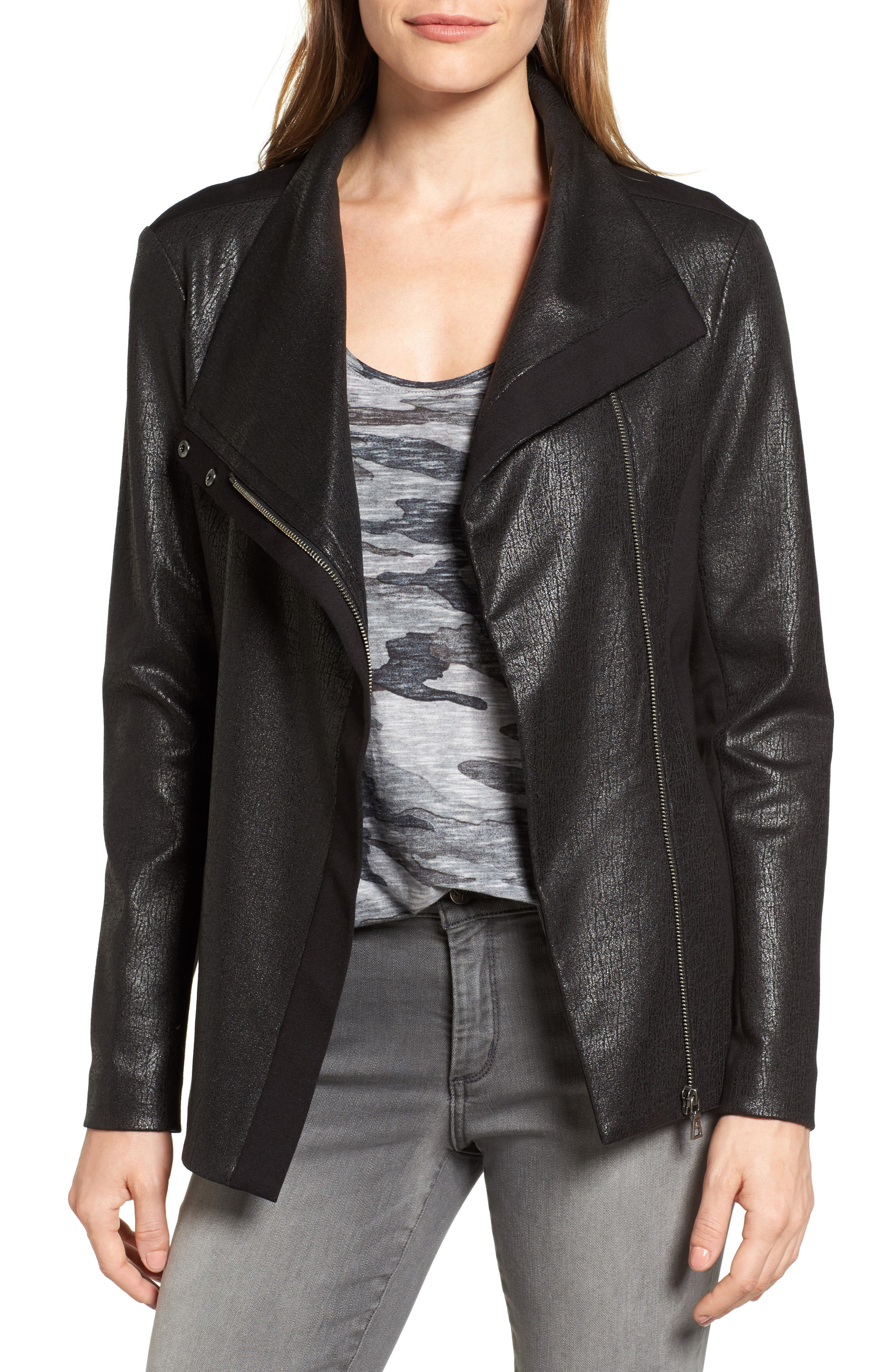 Two by Vince Camuto Coated Ponte Knit Moto Jacket
