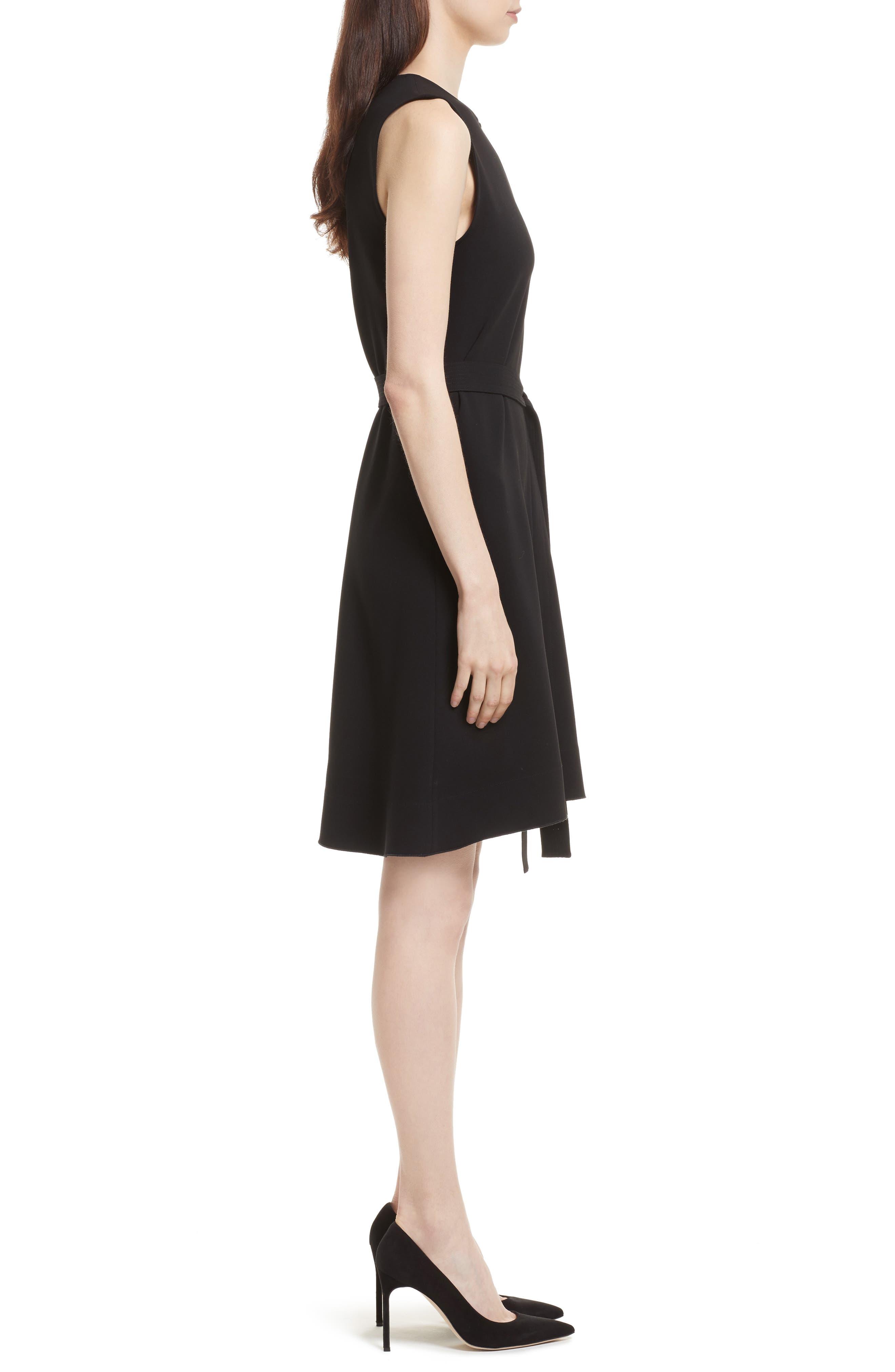 Desza Belted Admiral Crepe Fit & Flare Dress,                             Alternate thumbnail 3, color,                             Black