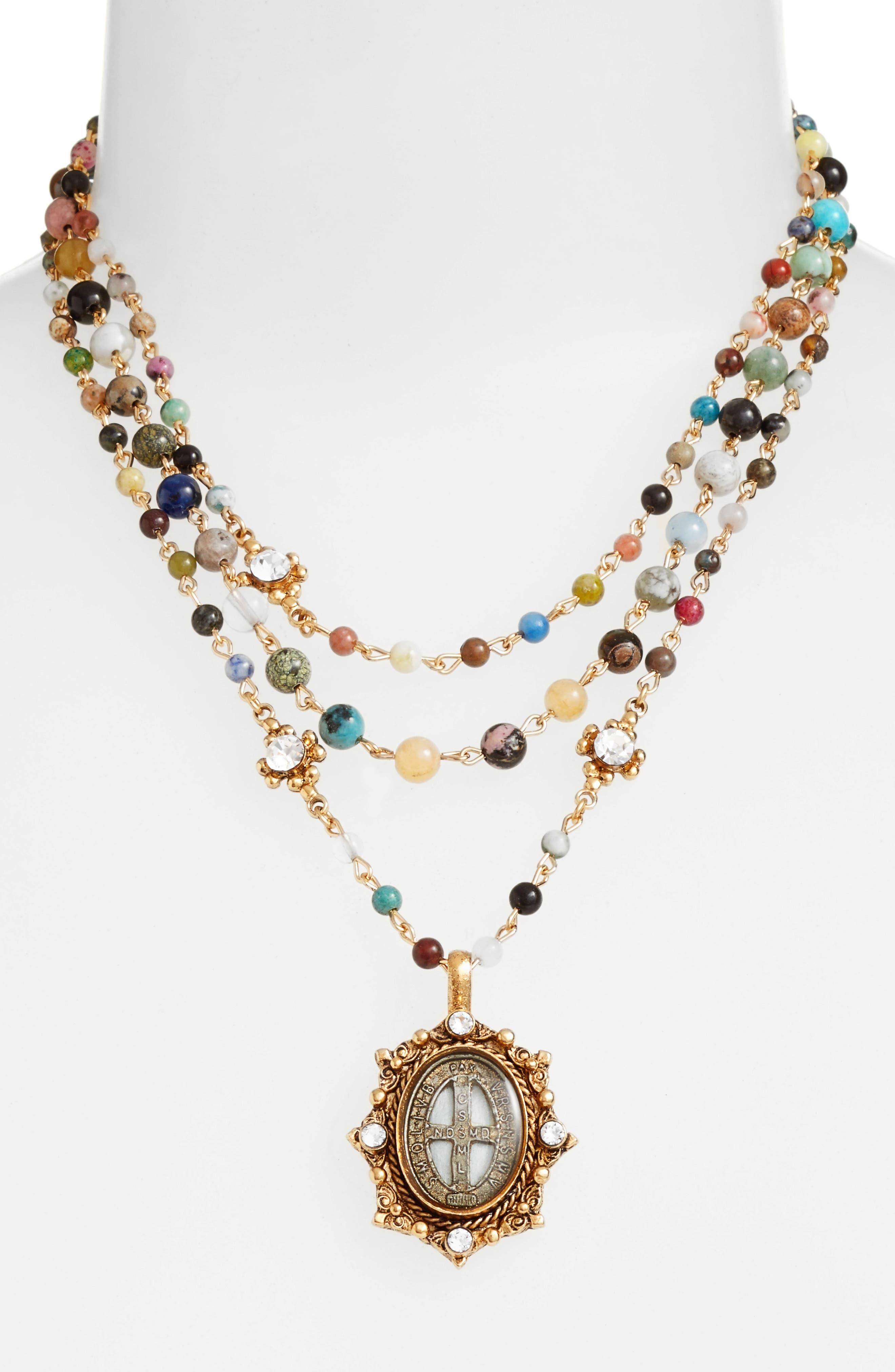 Magdalena Multistrand Necklace,                             Alternate thumbnail 2, color,                             Gold/ Mixed Quartz