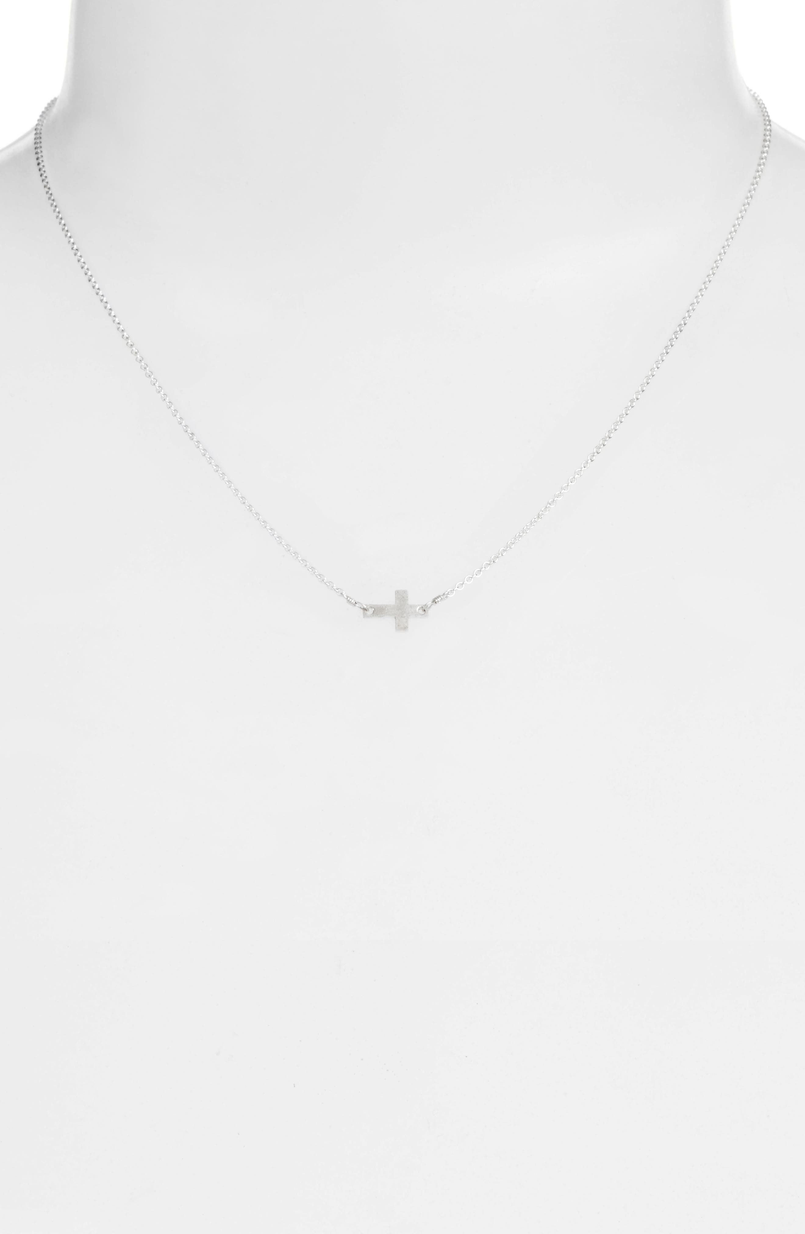 Side Cross Pendant Necklace,                             Alternate thumbnail 2, color,                             Silver