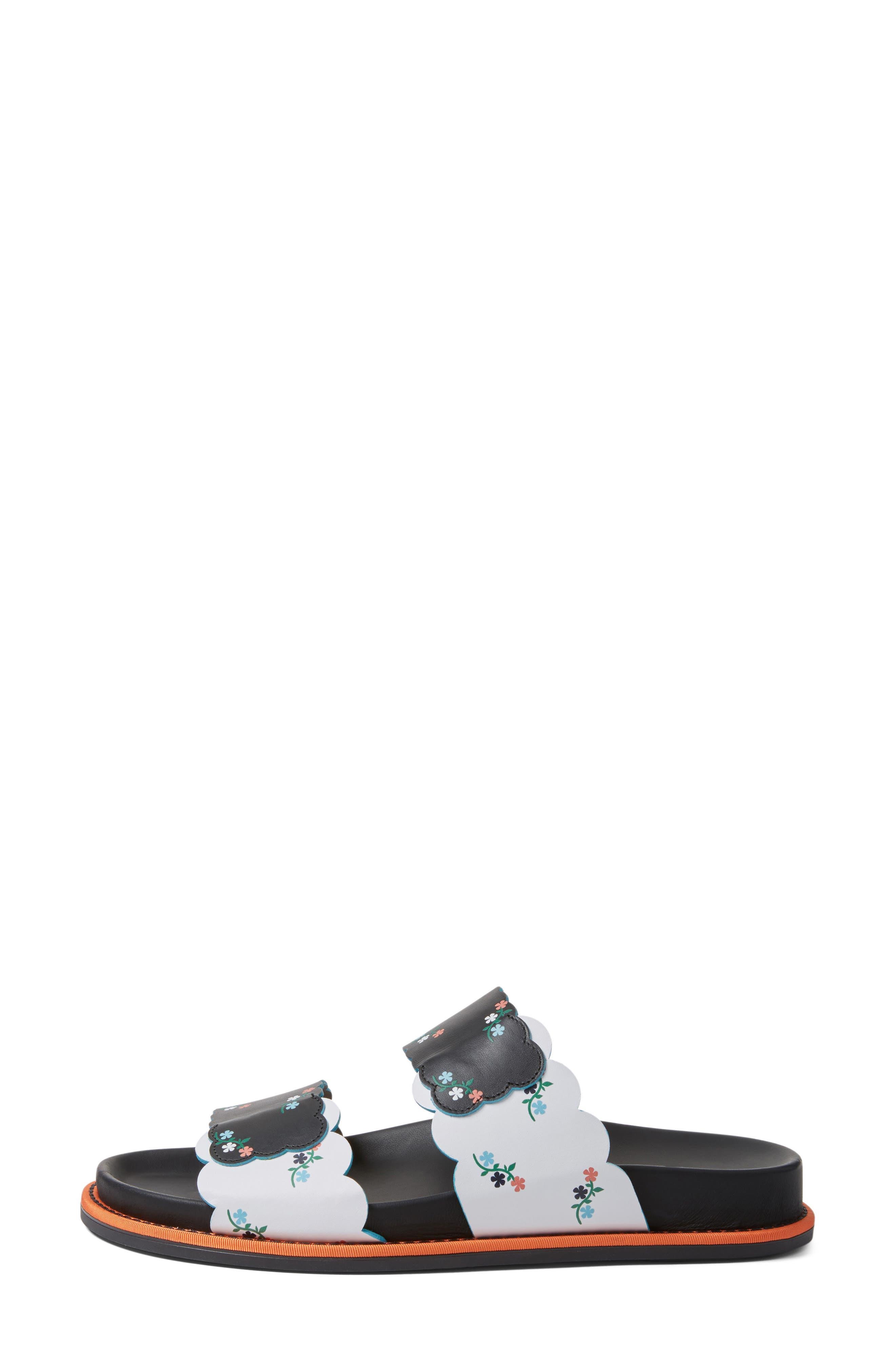 Scallop Slide Sandal,                             Alternate thumbnail 3, color,                             Black Floral