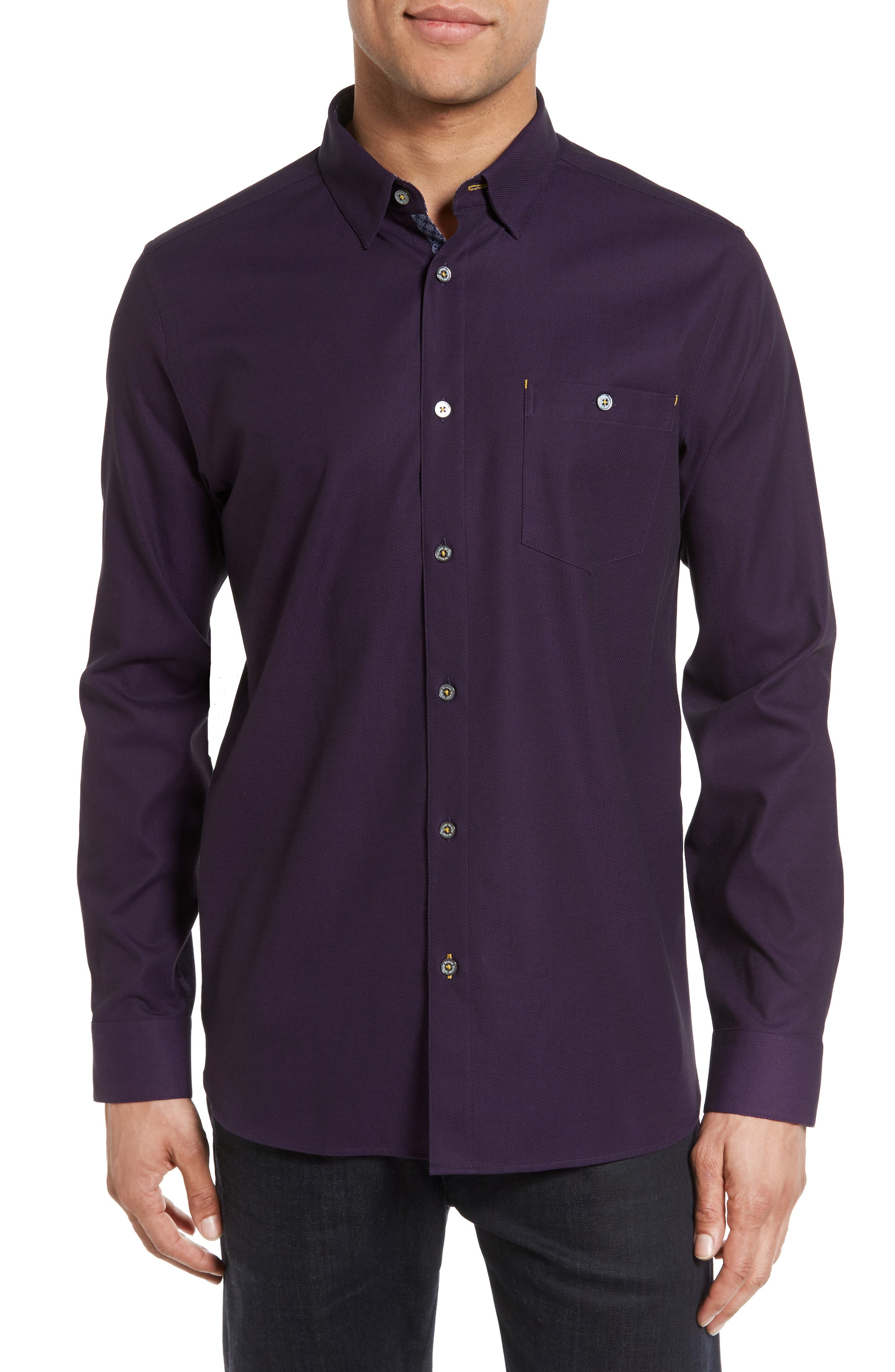 Nordlux Modern Slim Fit Stretch Cotton Sport Shirt,                             Main thumbnail 1, color,                             Deep Purple
