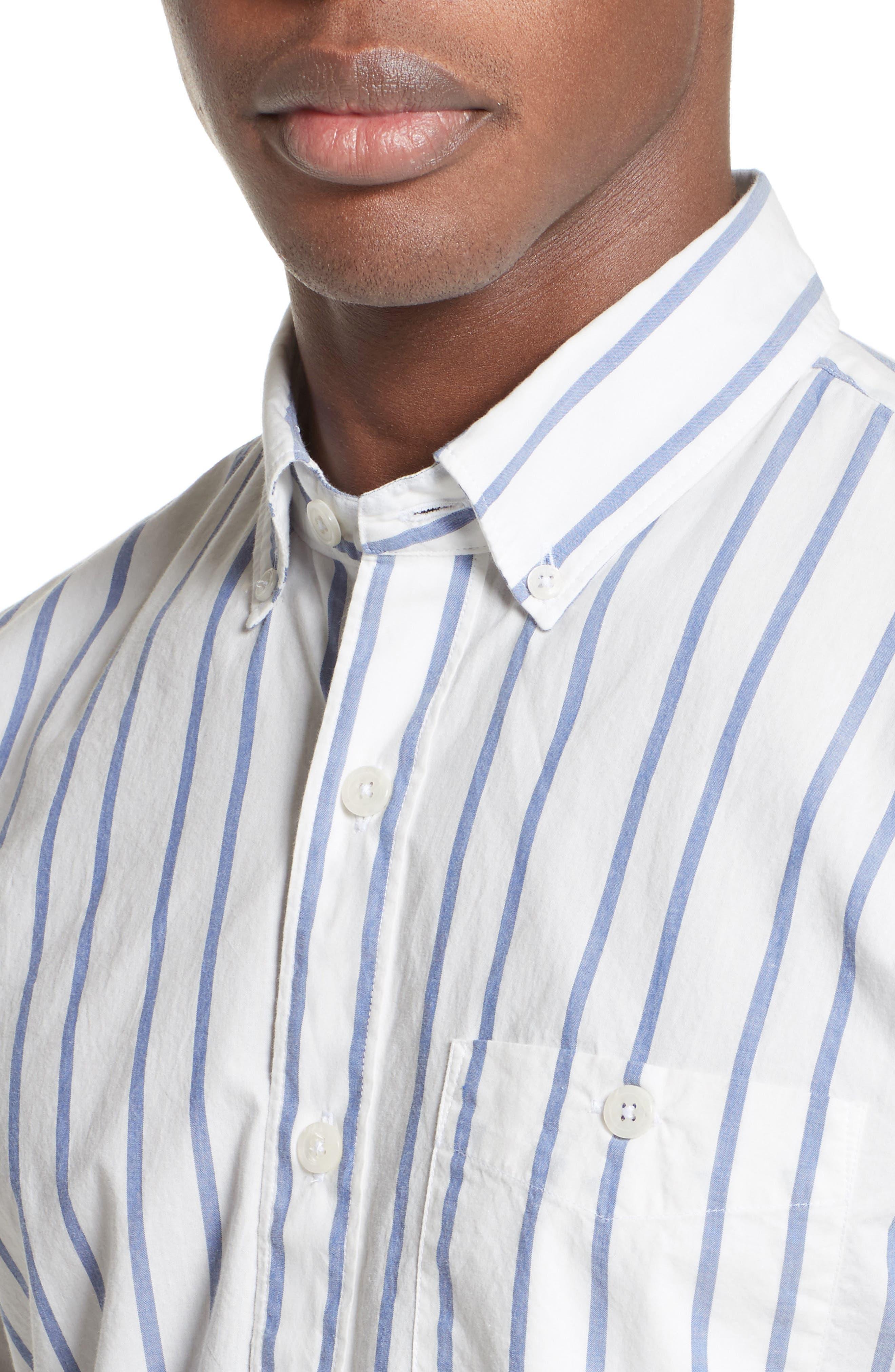 Alternate Image 4  - Todd Snyder Trim Fit Stripe Sport Shirt