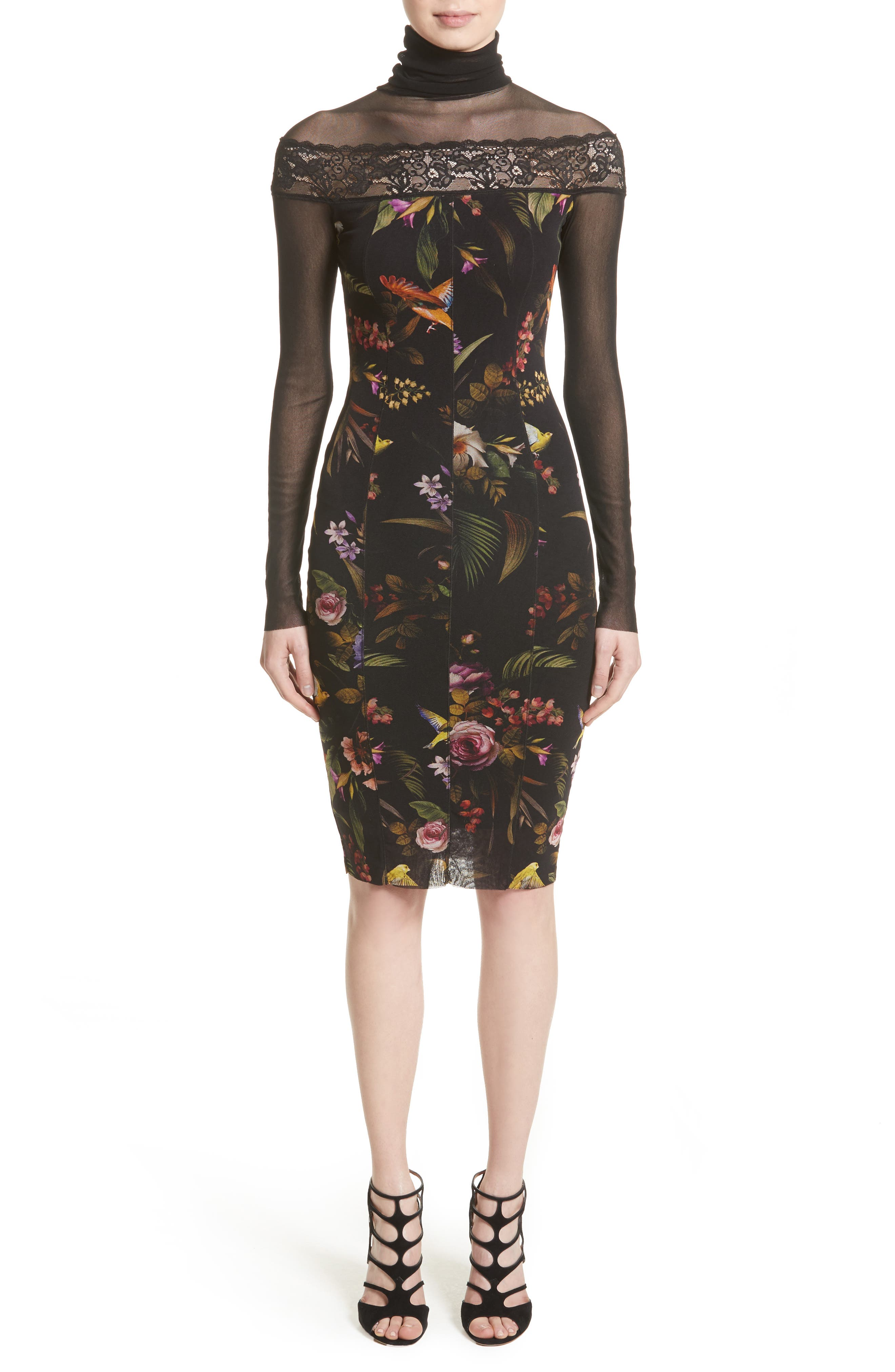 Tulle Turtleneck Sheath Dress,                             Main thumbnail 1, color,                             Nero