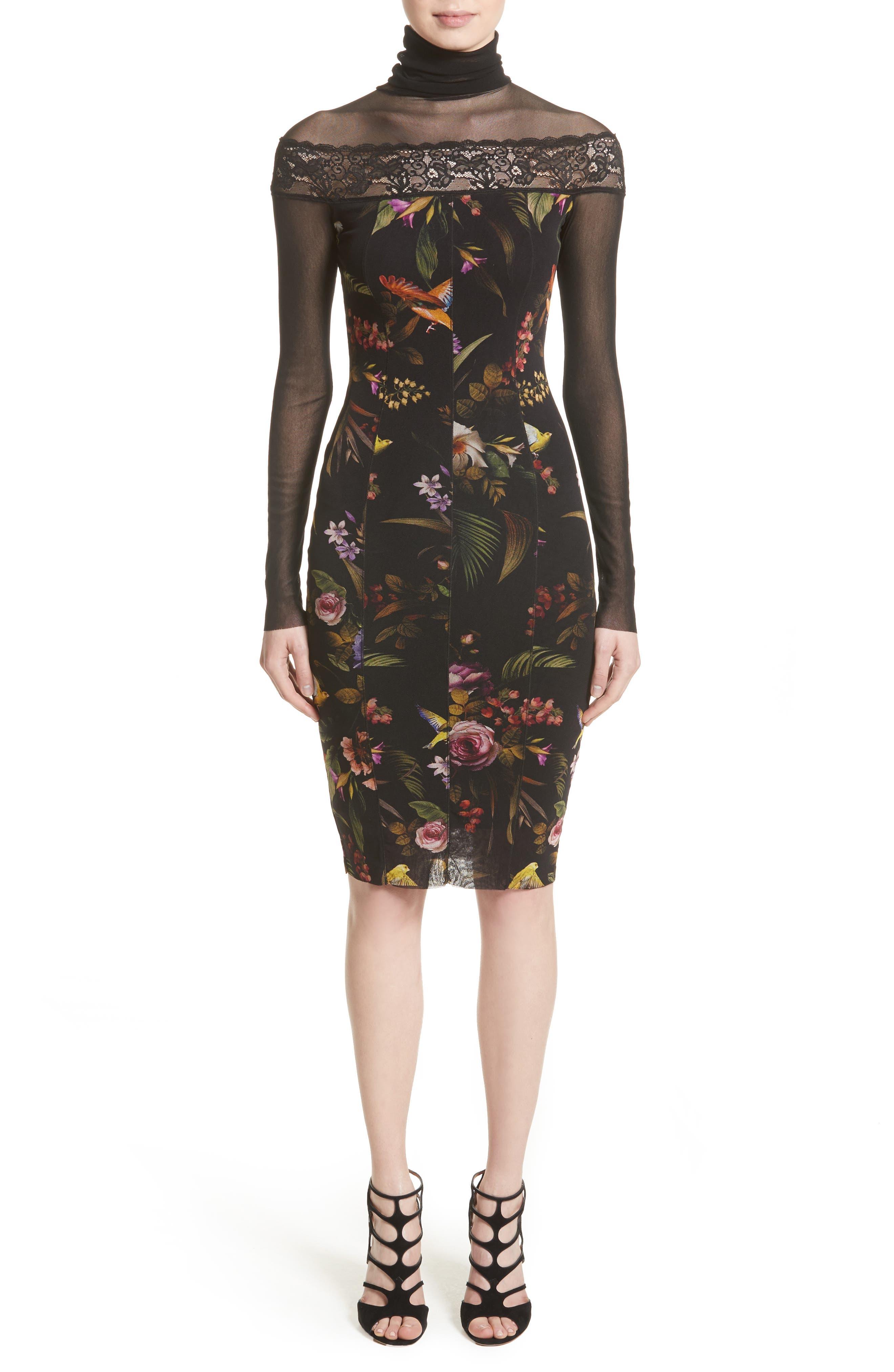 Tulle Turtleneck Sheath Dress,                         Main,                         color, Nero