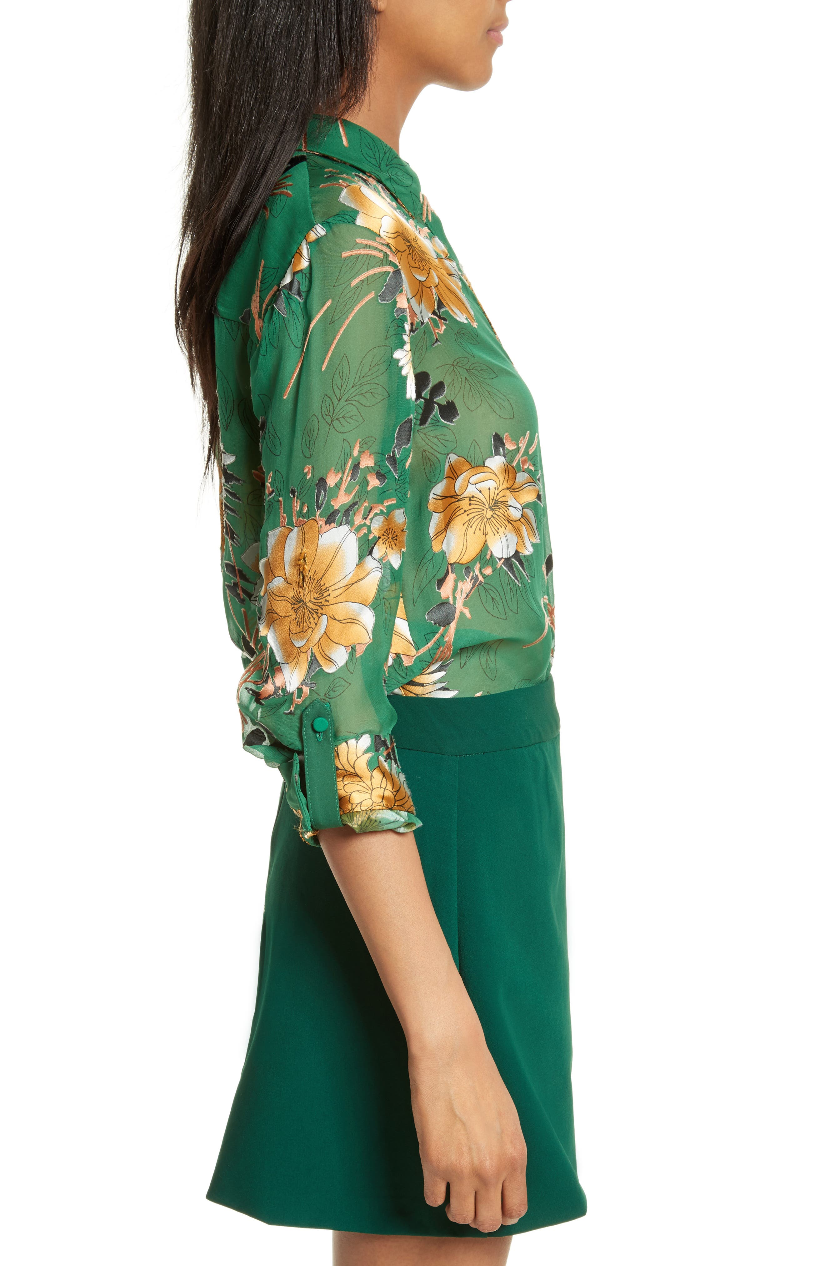 Eloise Roll Sleeve Floral Blouse,                             Alternate thumbnail 3, color,                             Ivy Multi