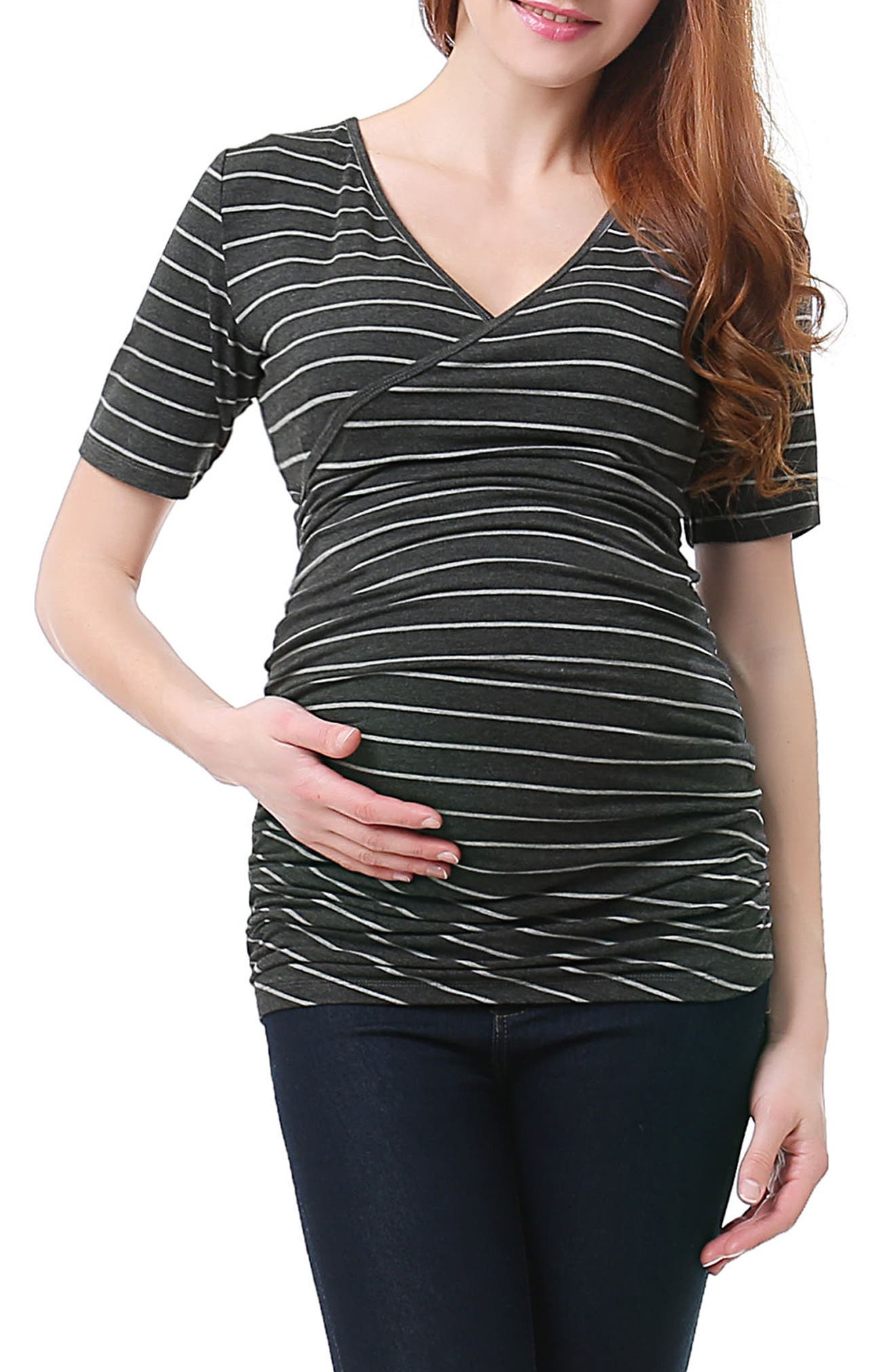Kimi and Kai Beverly Ruched Maternity/Nursing Top
