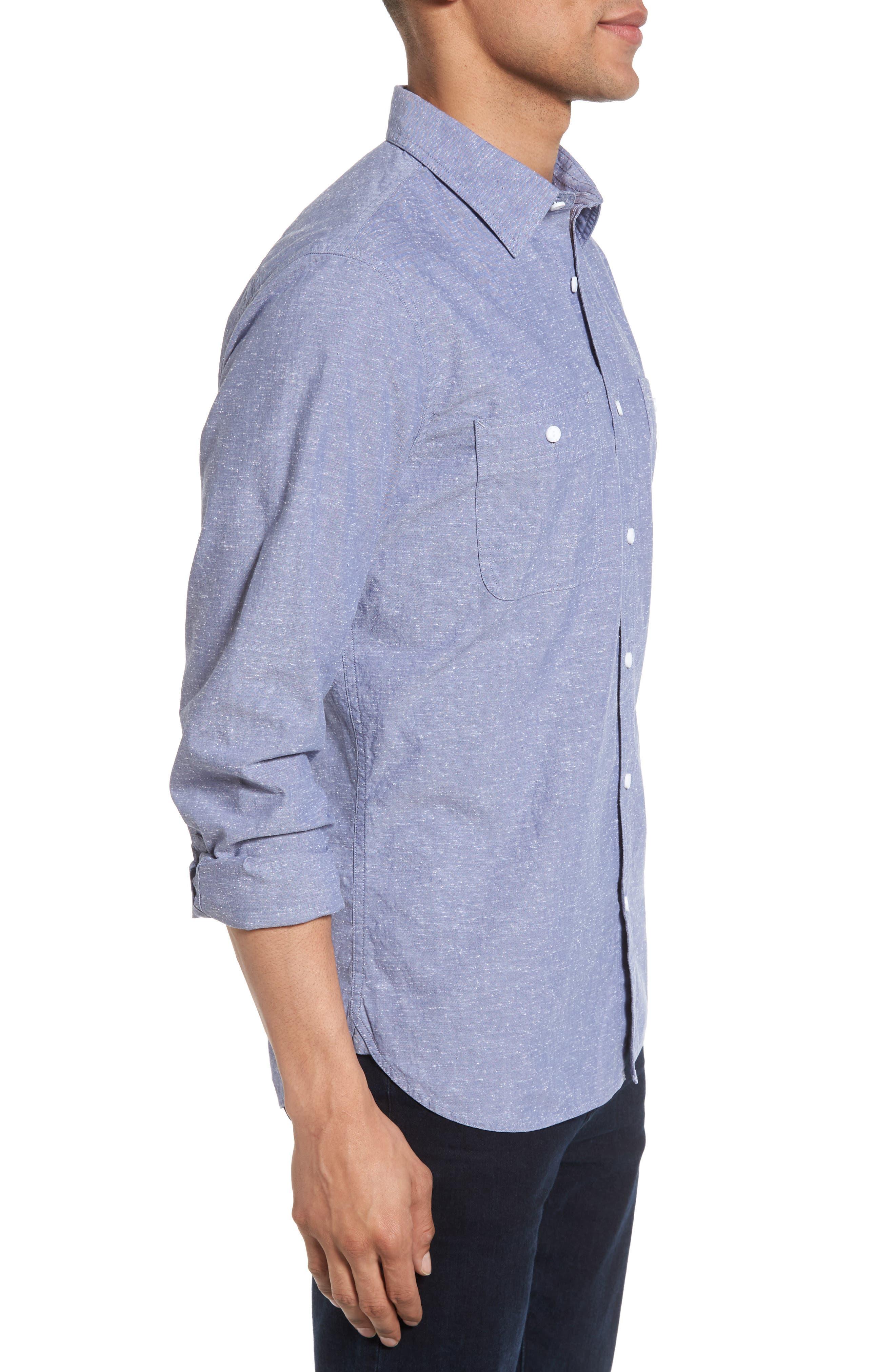 Slim Fit Slub Cotton Sport Shirt,                             Alternate thumbnail 3, color,                             Blue Dusk Nep Chambray
