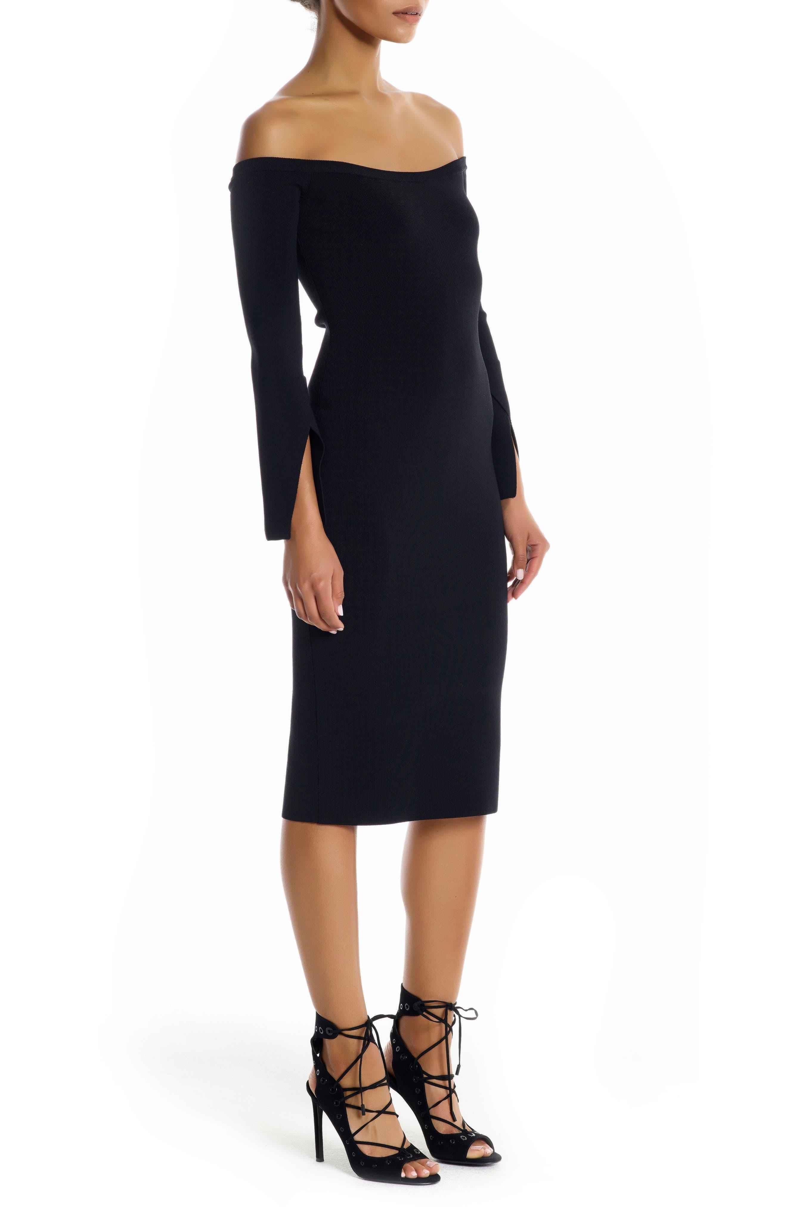 Off the Shoulder Body-Con Dress,                             Alternate thumbnail 3, color,                             Black