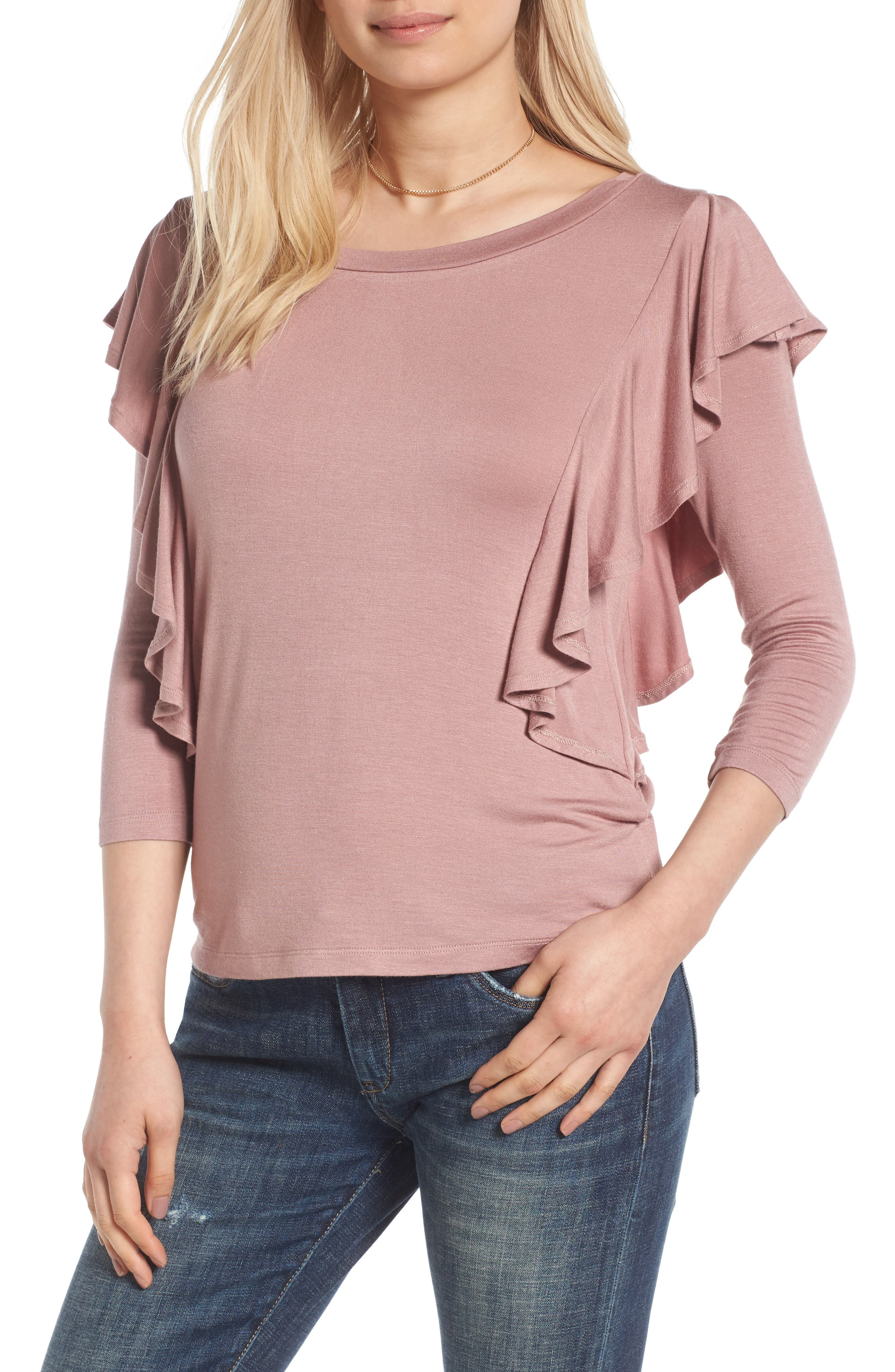 Alternate Image 1 Selected - Madison & Berkeley Ruffle Knit Top
