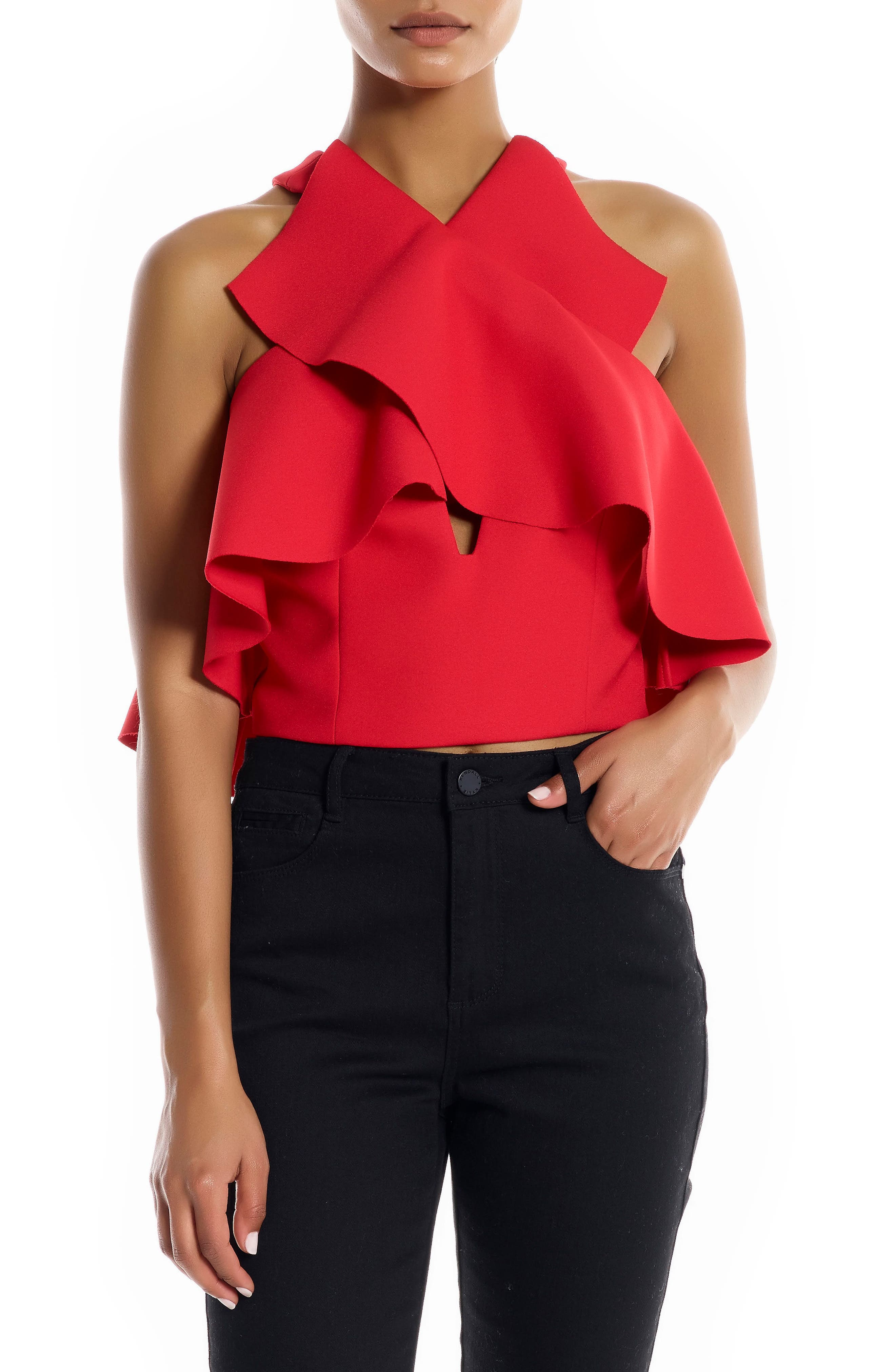 Overlap Ruffle Crop Top,                         Main,                         color, Bright Red