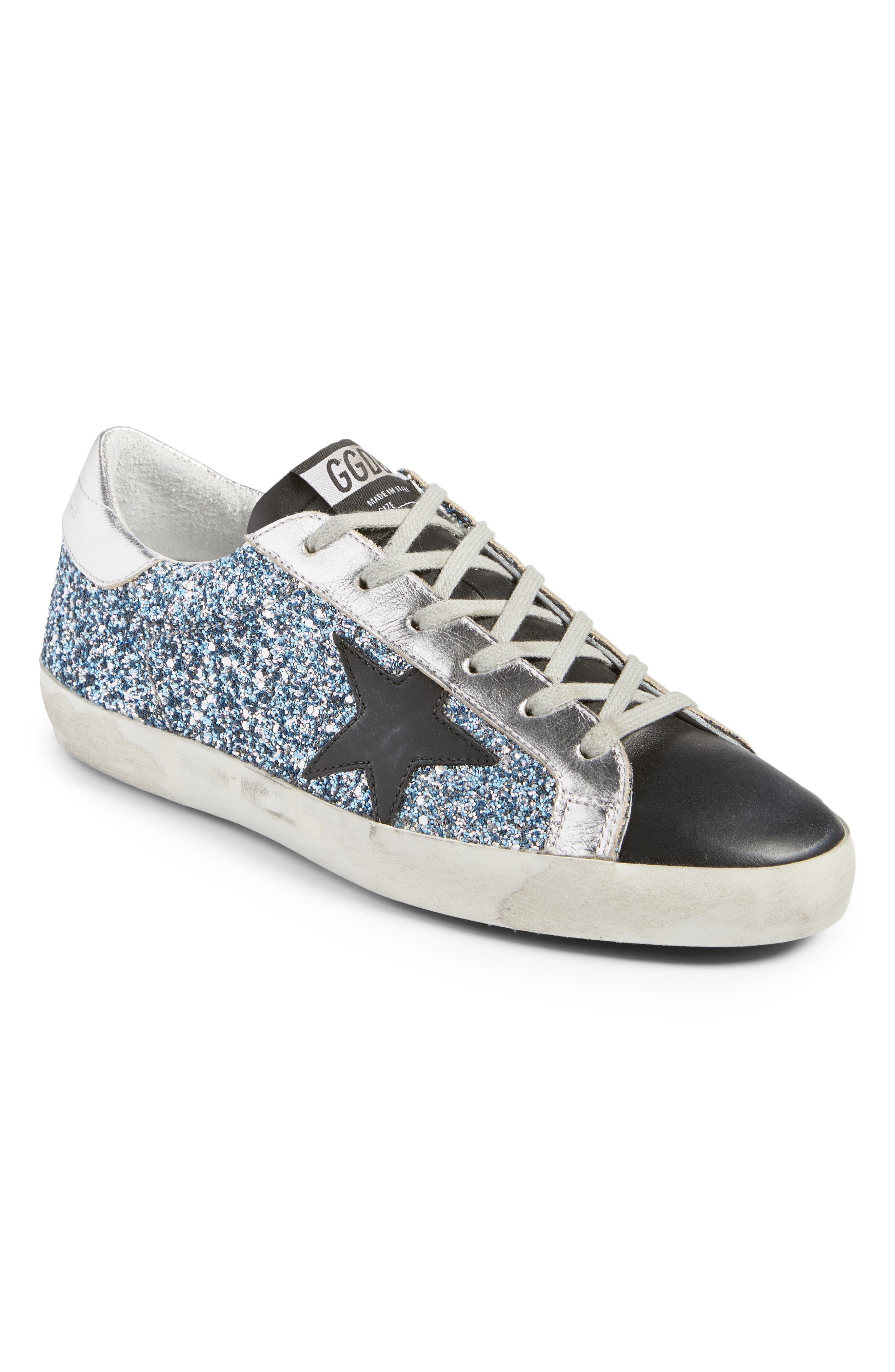 Superstar Glitter Sneaker,                             Main thumbnail 1, color,                             Blue Glitter