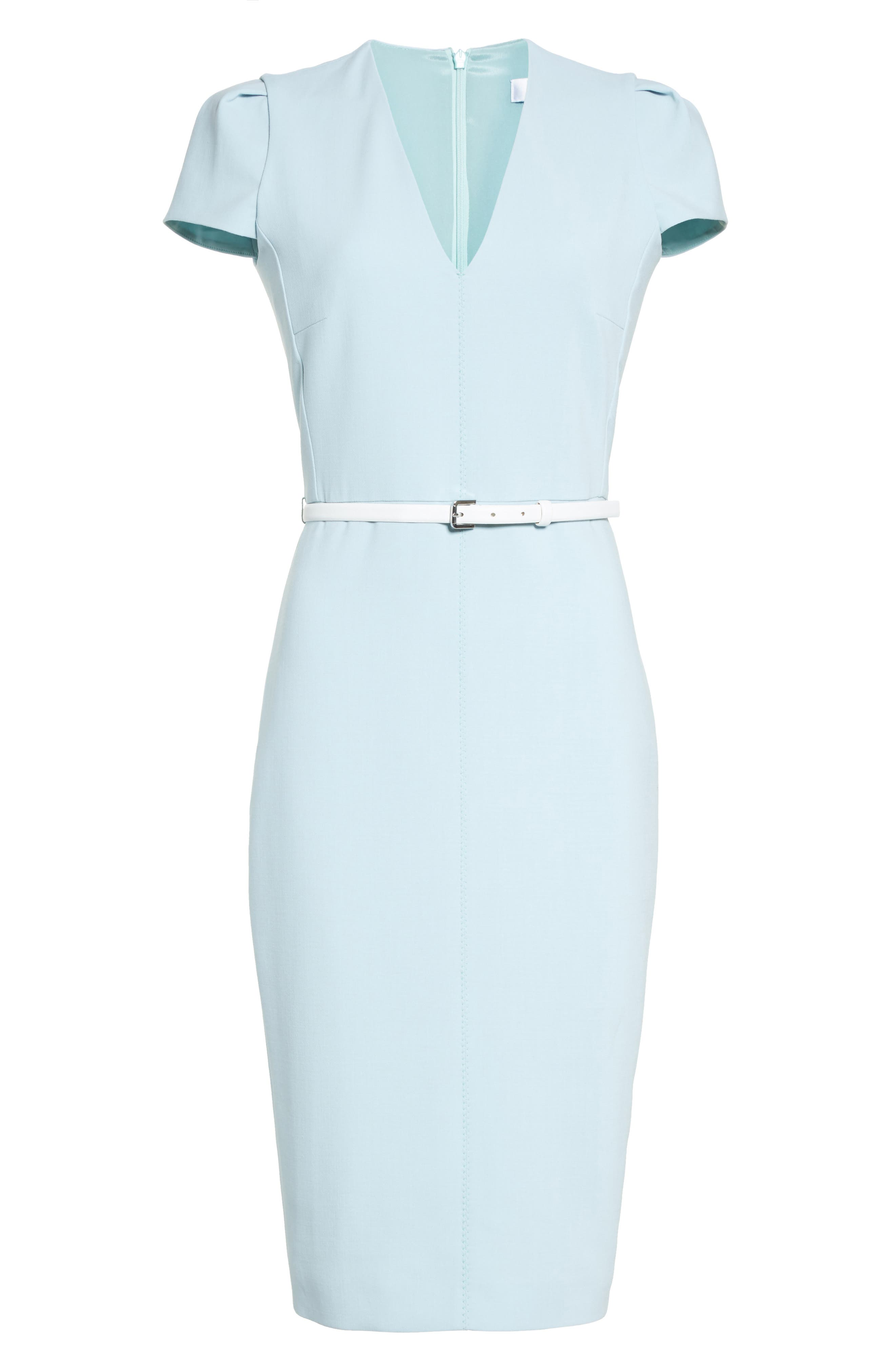 Teorema Belted Sheath Dress,                             Alternate thumbnail 4, color,                             Water