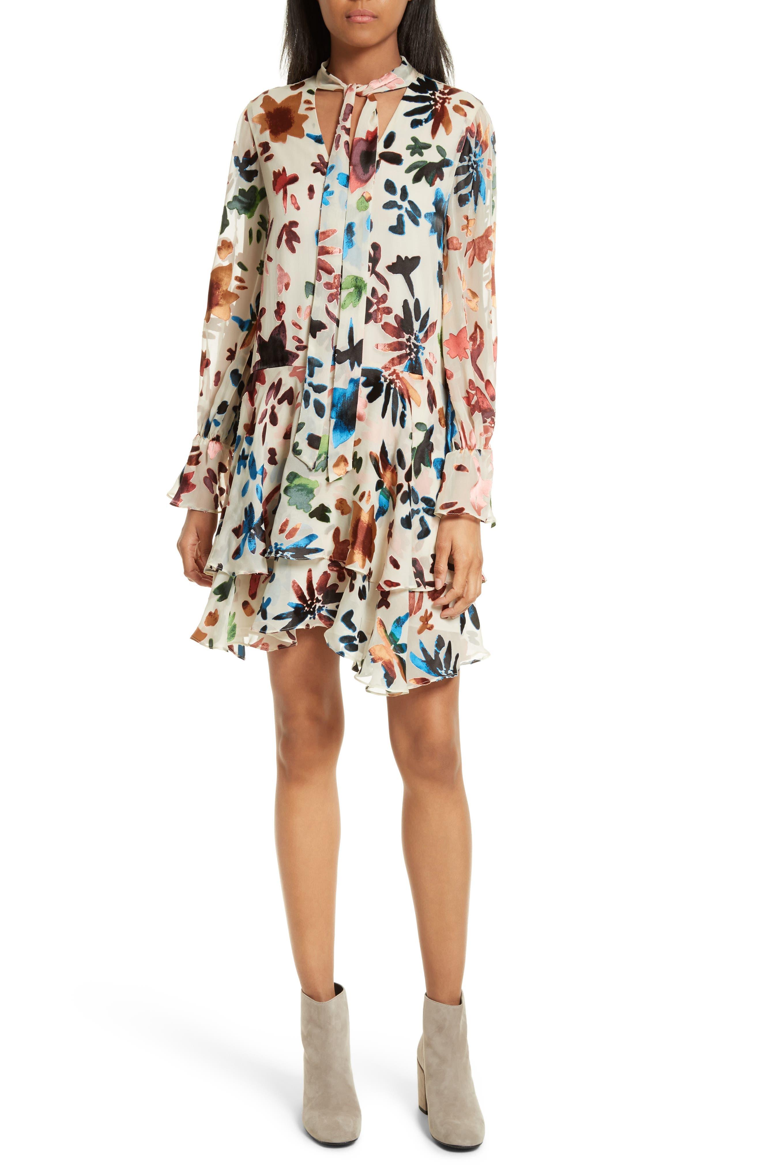 Moran Tiered Floral A-Line Dress,                             Main thumbnail 1, color,                             Prisma Floral Burnout