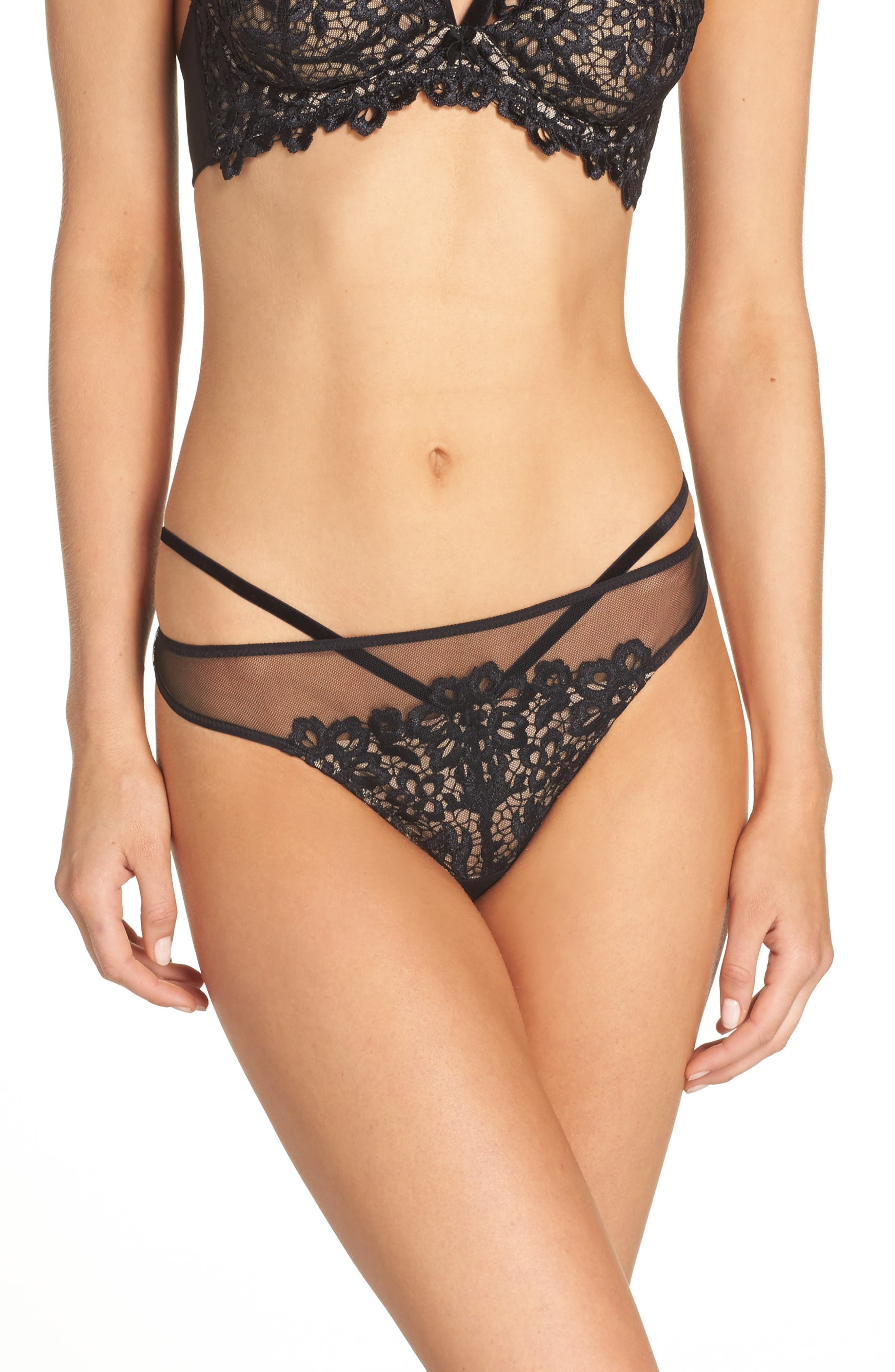 G-String Thong,                         Main,                         color, Black/ Nude