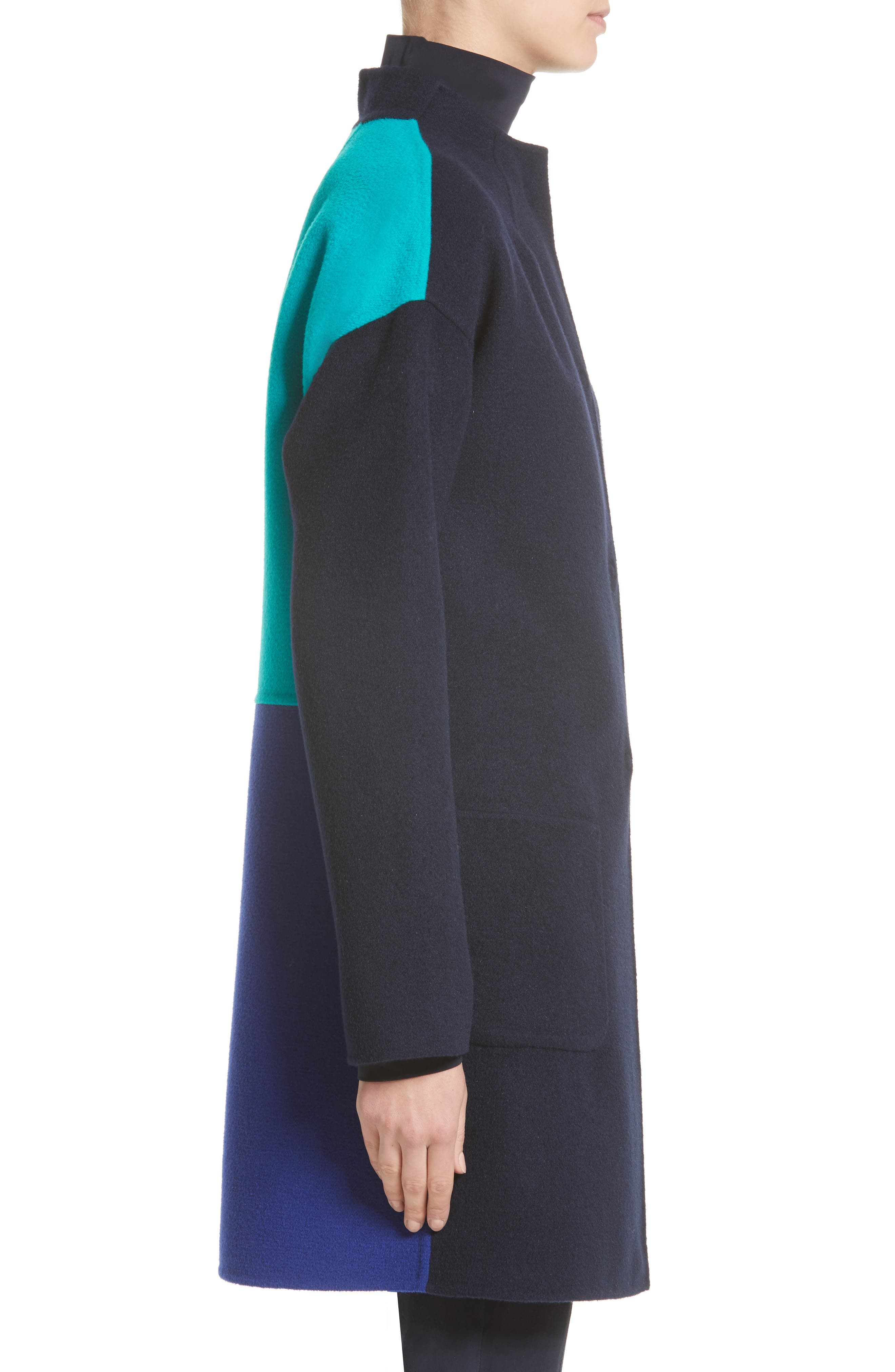 Alternate Image 4  - St. John Collection Colorblock Double Face Wool Blend Coat