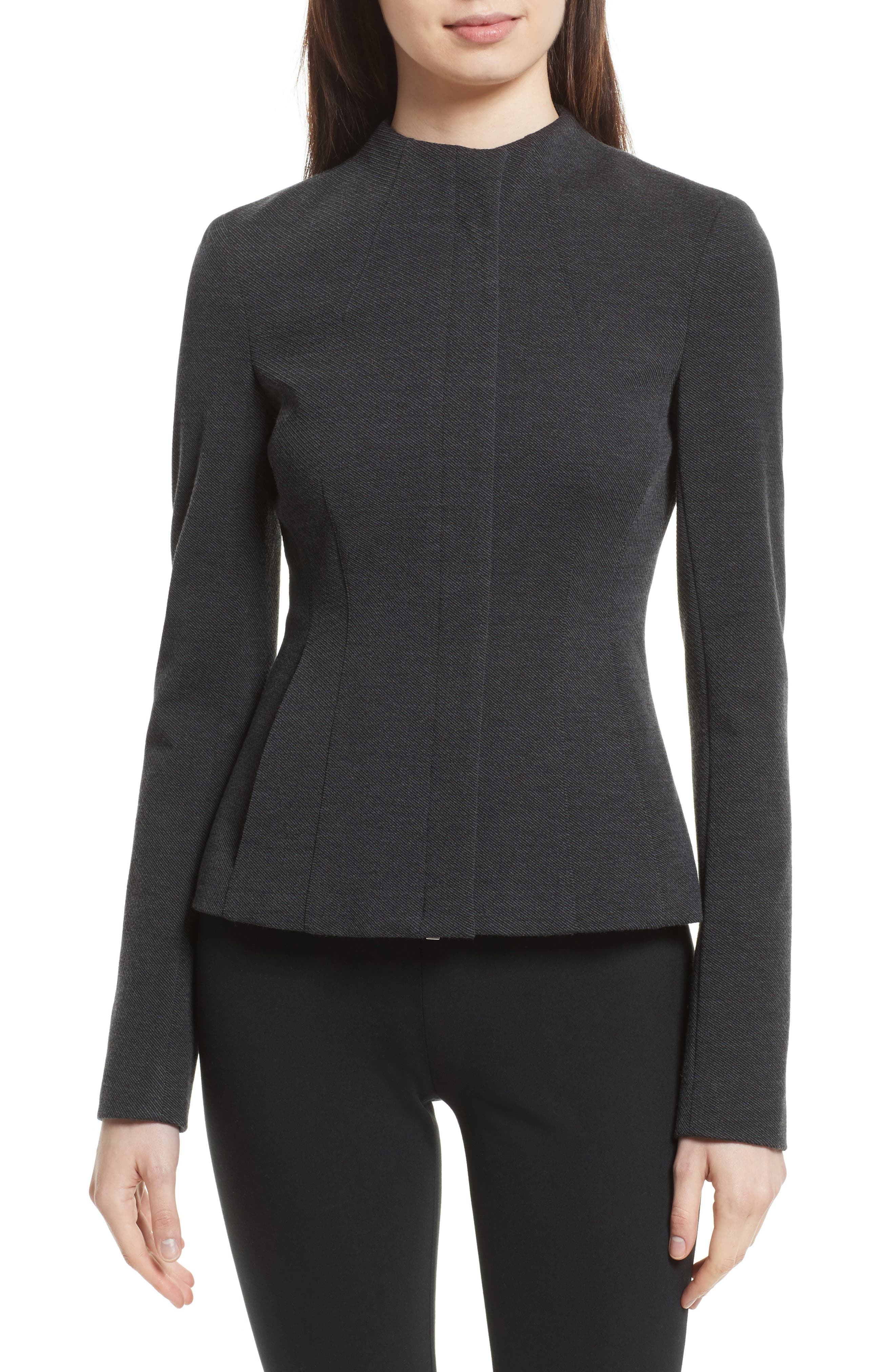 Sculpted Knit Twill Jacket,                             Main thumbnail 1, color,                             Dark Charcoal