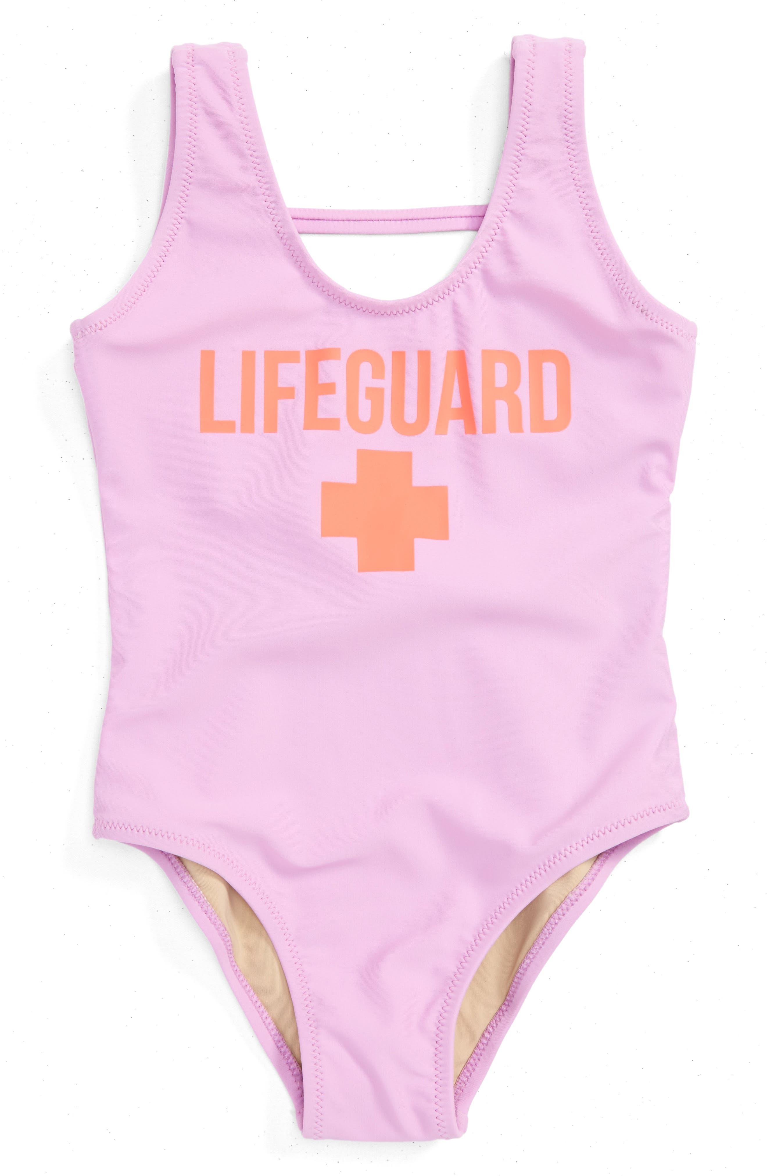 Lifeguard One-Piece Swimsuit,                         Main,                         color, Lilac