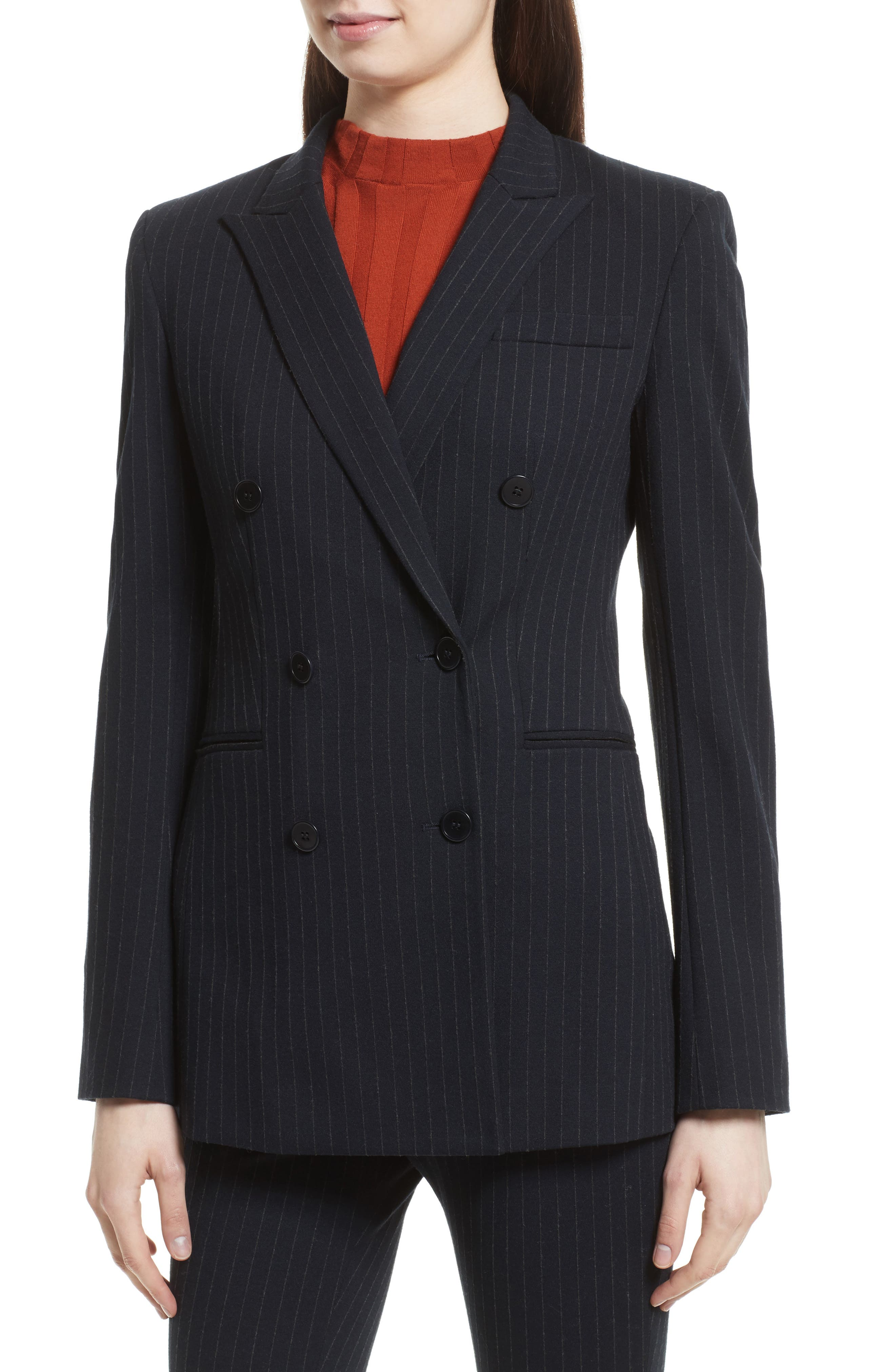 Pinstripe Power Blazer,                             Alternate thumbnail 5, color,                             Deep Navy