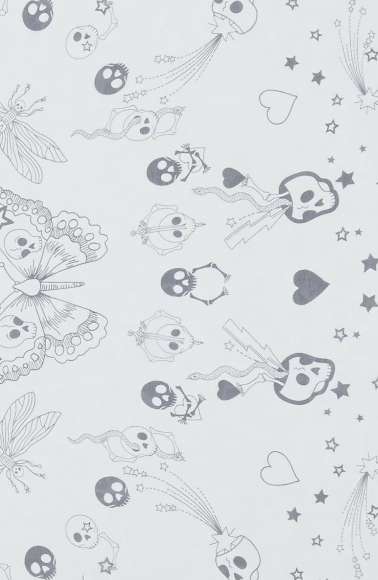 Party Skull Silk Scarf,                             Alternate thumbnail 4, color,                             White/ Black