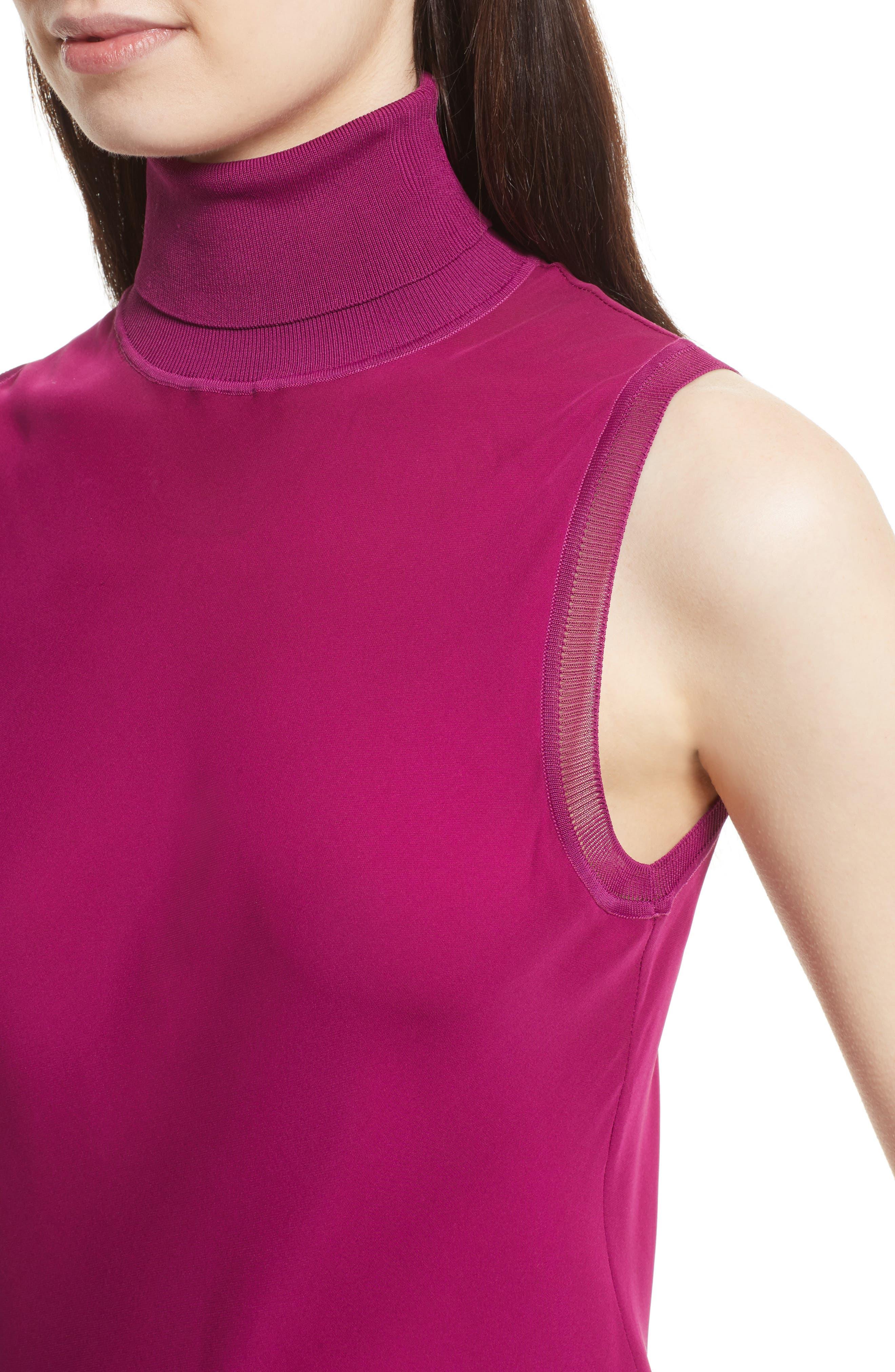 Turtleneck Bias Silk Top,                             Alternate thumbnail 4, color,                             Electric Pink