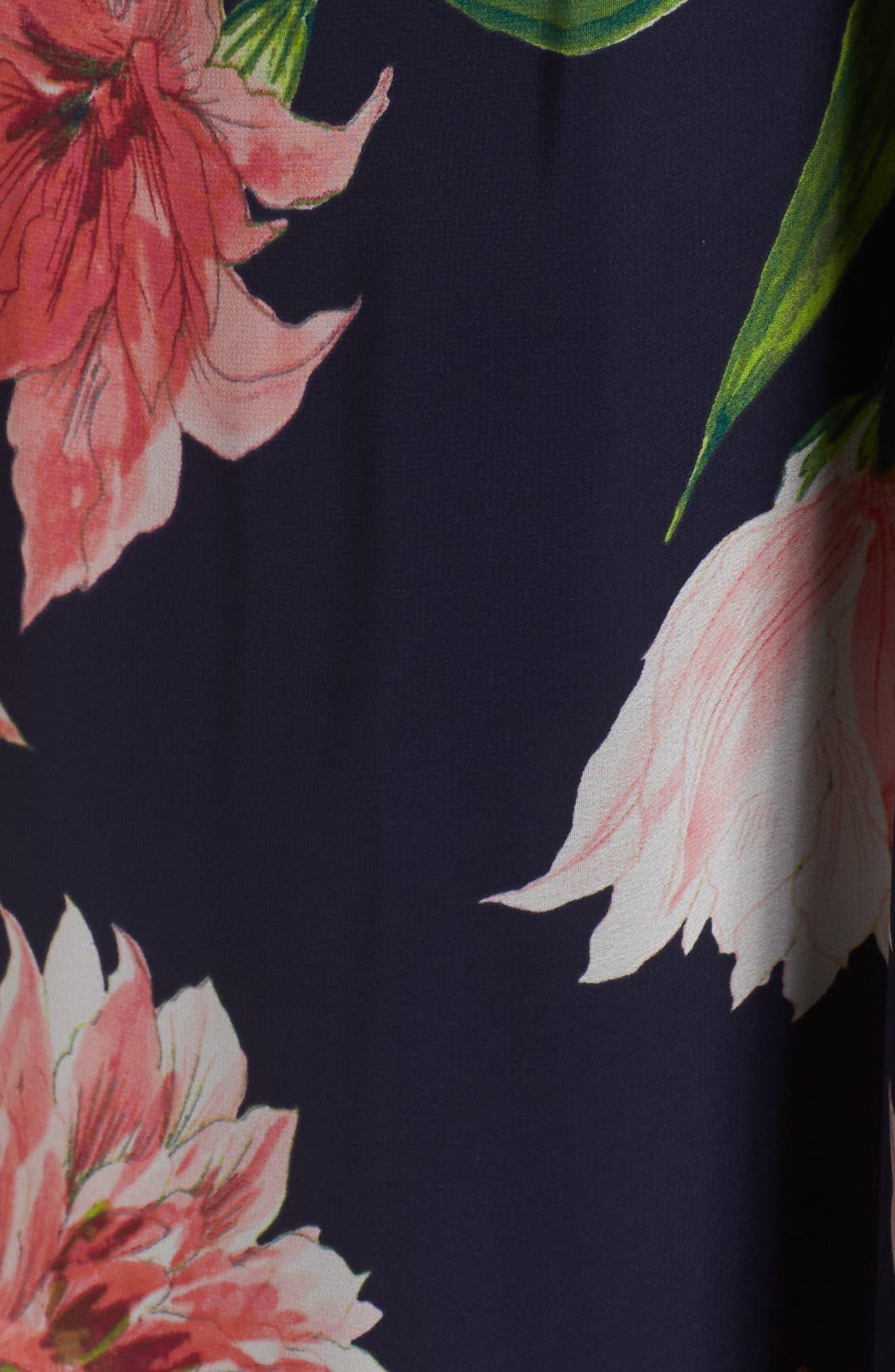 Alternate Image 5  - Eliza J Floral Chiffon Cold Shoulder Maxi Dress (Plus Size)