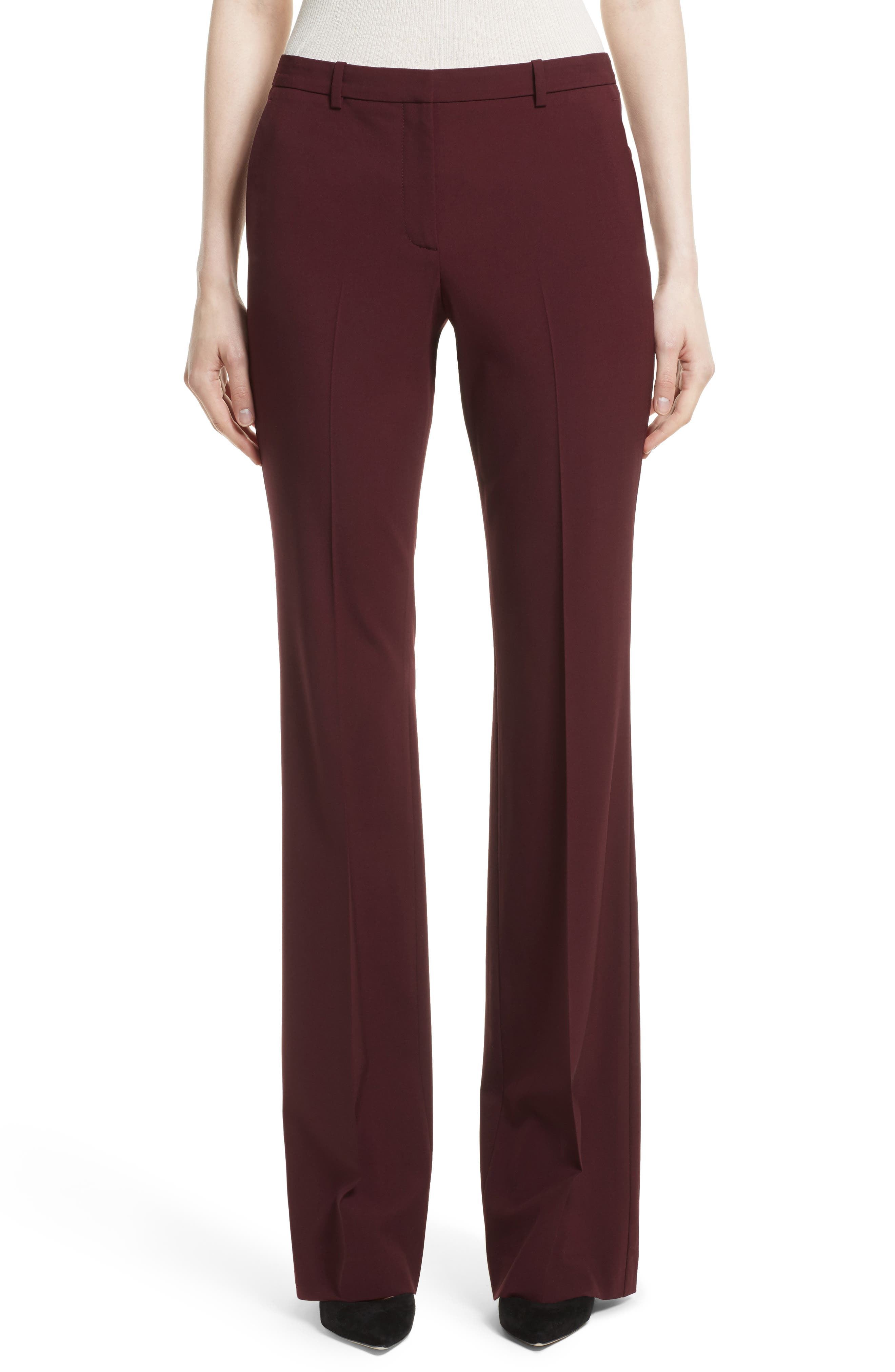 Demitria 2 Flare Leg Stretch Wool Pants,                         Main,                         color, Dark Currant