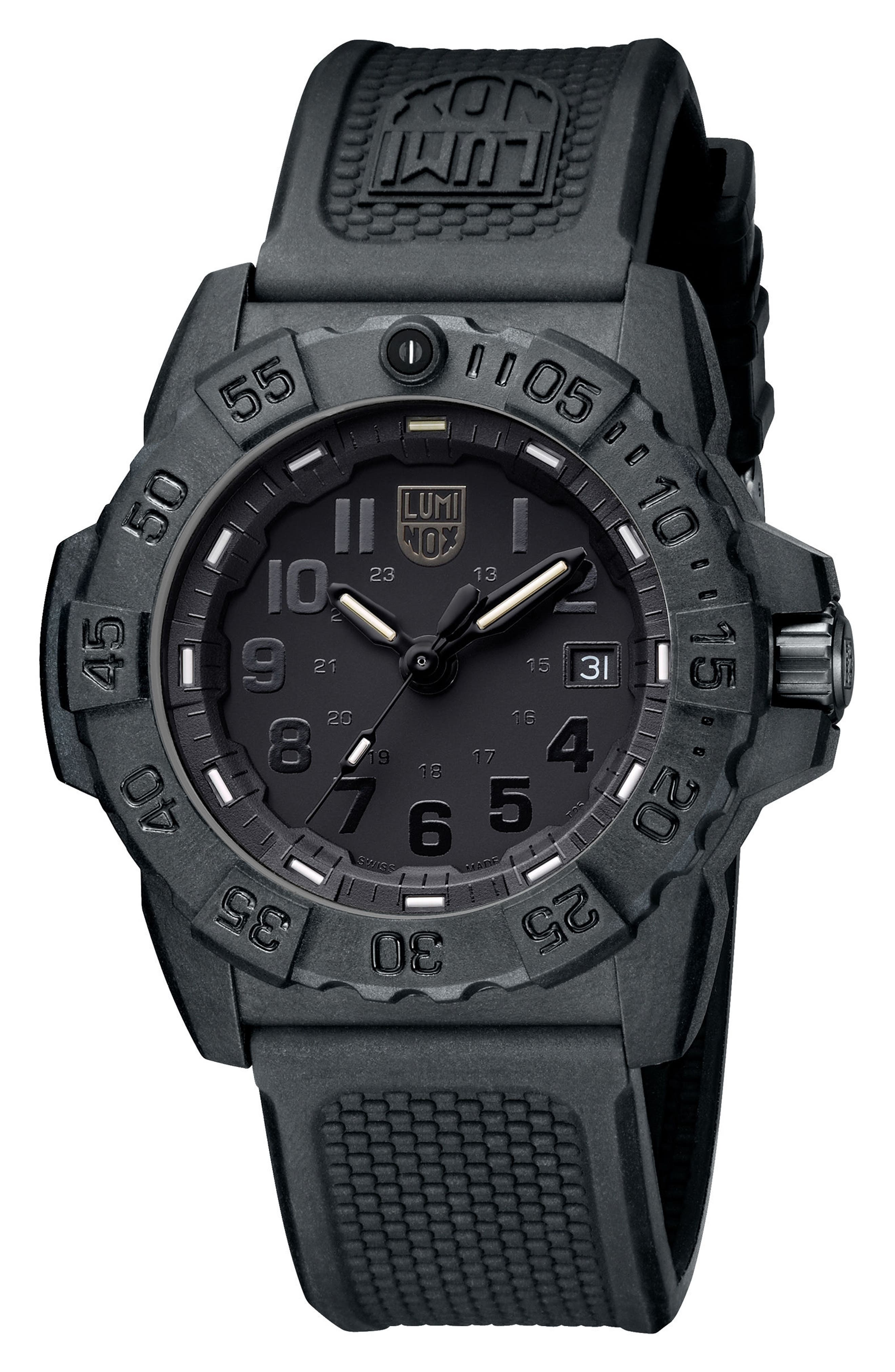 Alternate Image 3  - Luminox Navy SEAL Trident 3500 Silicone Strap Watch, 45mm