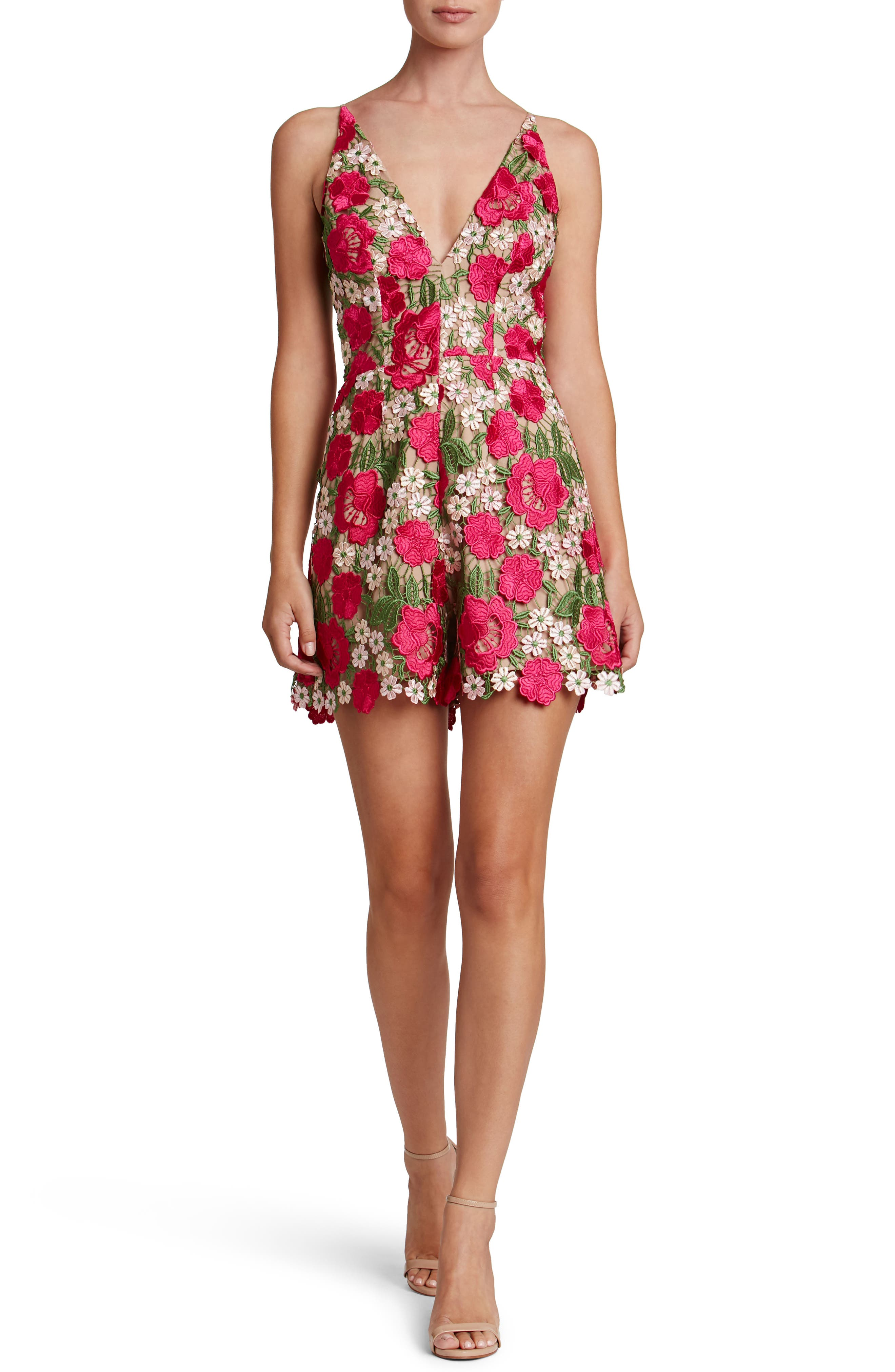 Alternate Image 1 Selected - Dress the Population Ellie Plunge Romper